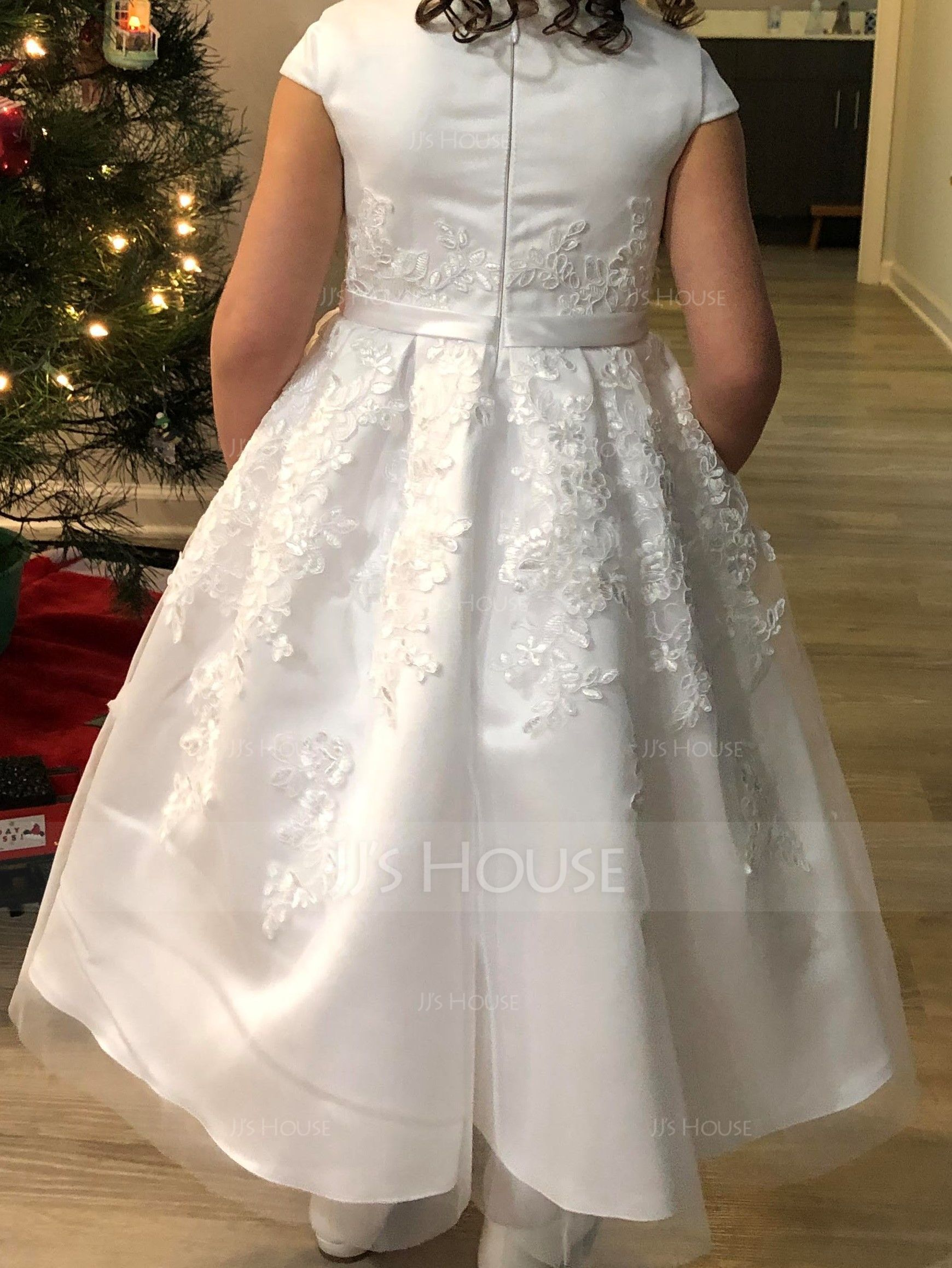 A-Line Knee-length Flower Girl Dress - Satin/Lace Sleeveless Scoop Neck (010172336)