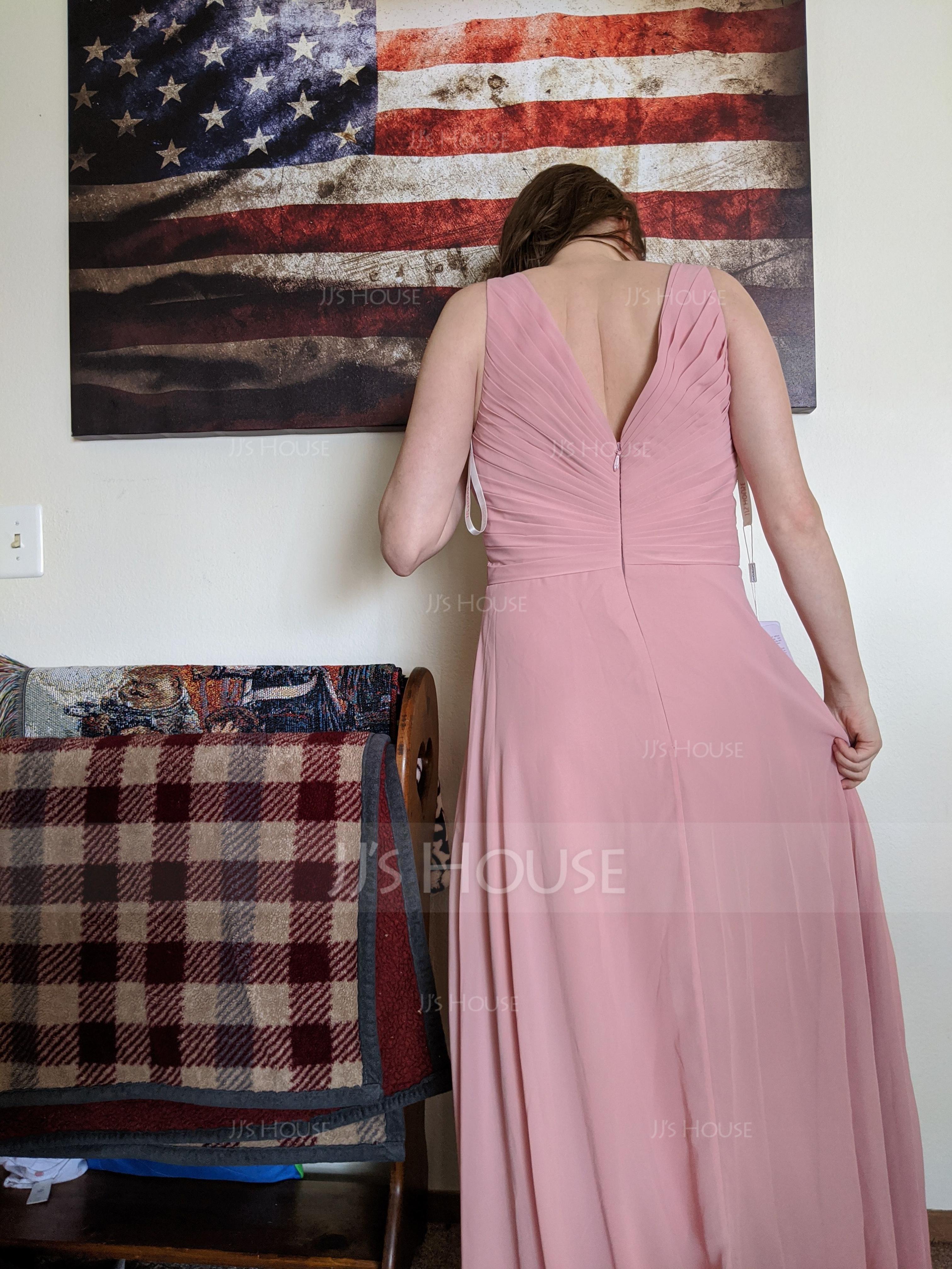 A-Lijn/Prinses V-nek Vloer lengte De Chiffon Bruidsmeisjes Jurk met Roes (007105575)