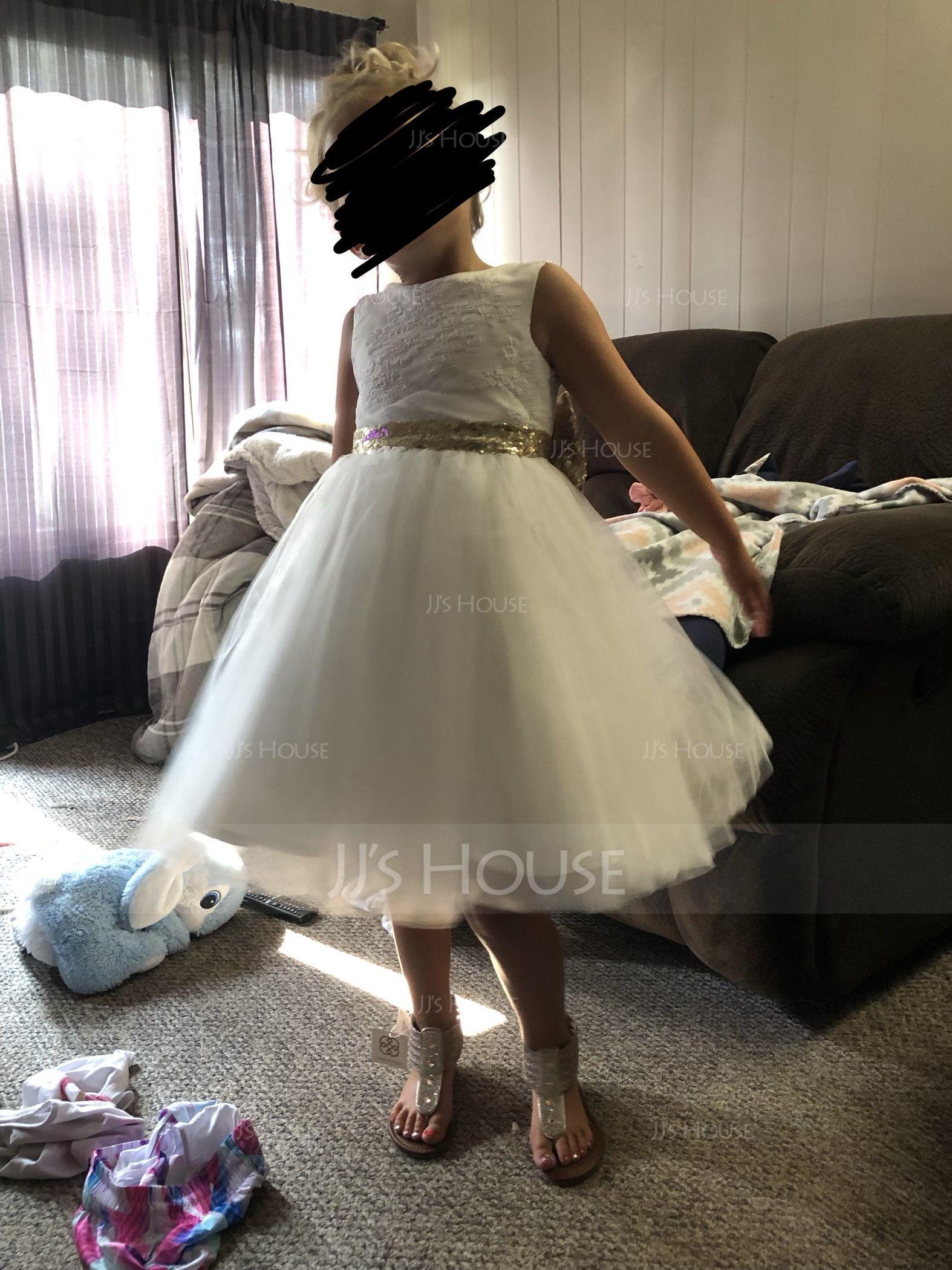 Forme Princesse Longueur genou Robes à Fleurs pour Filles - Tulle/Dentelle/Pailleté Sans manches Col rond avec À ruban(s)/V retour (010147440)