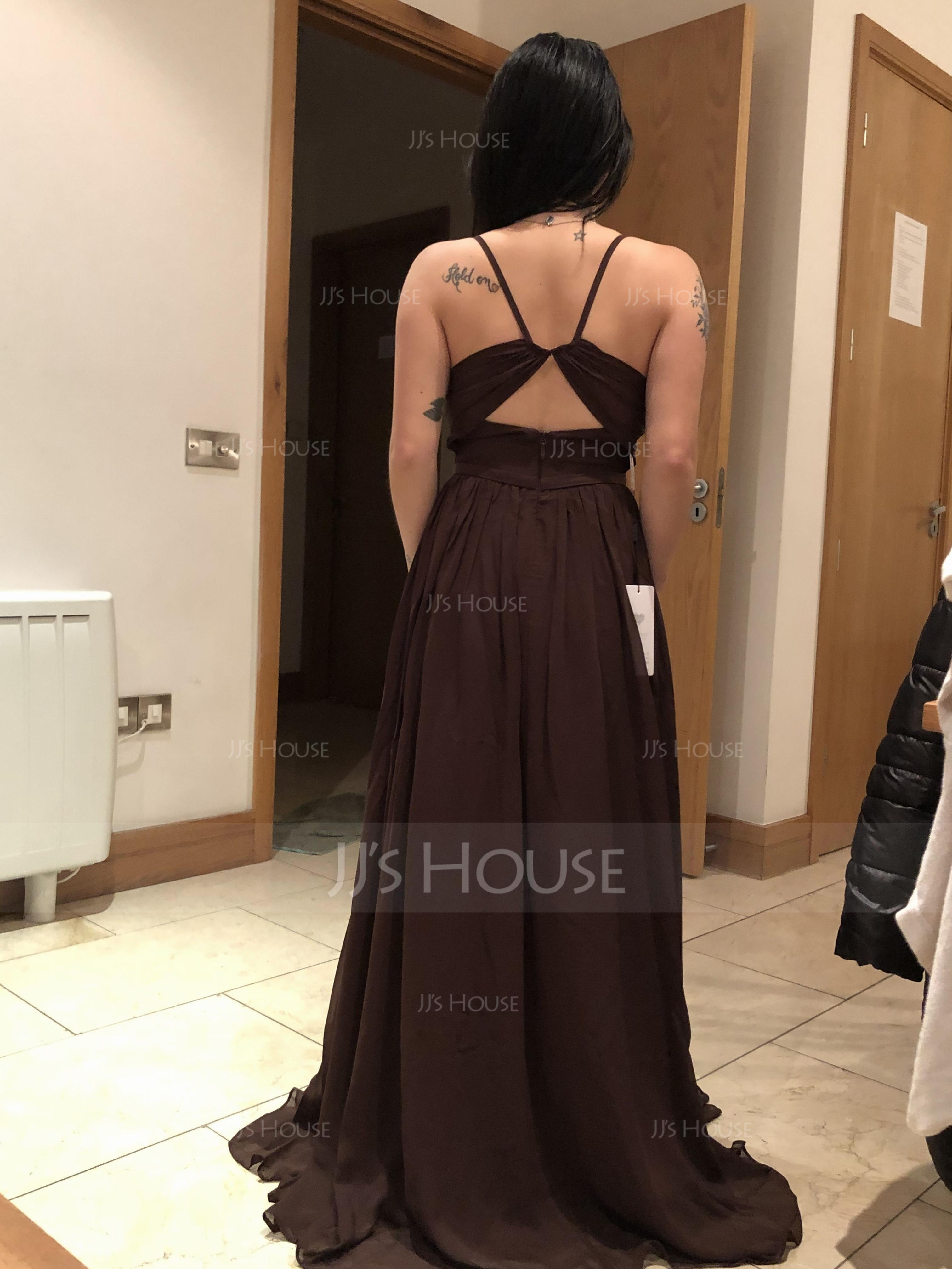 A-Line Sweetheart Floor-Length Chiffon Prom Dresses With Ruffle Split Front (018125039)