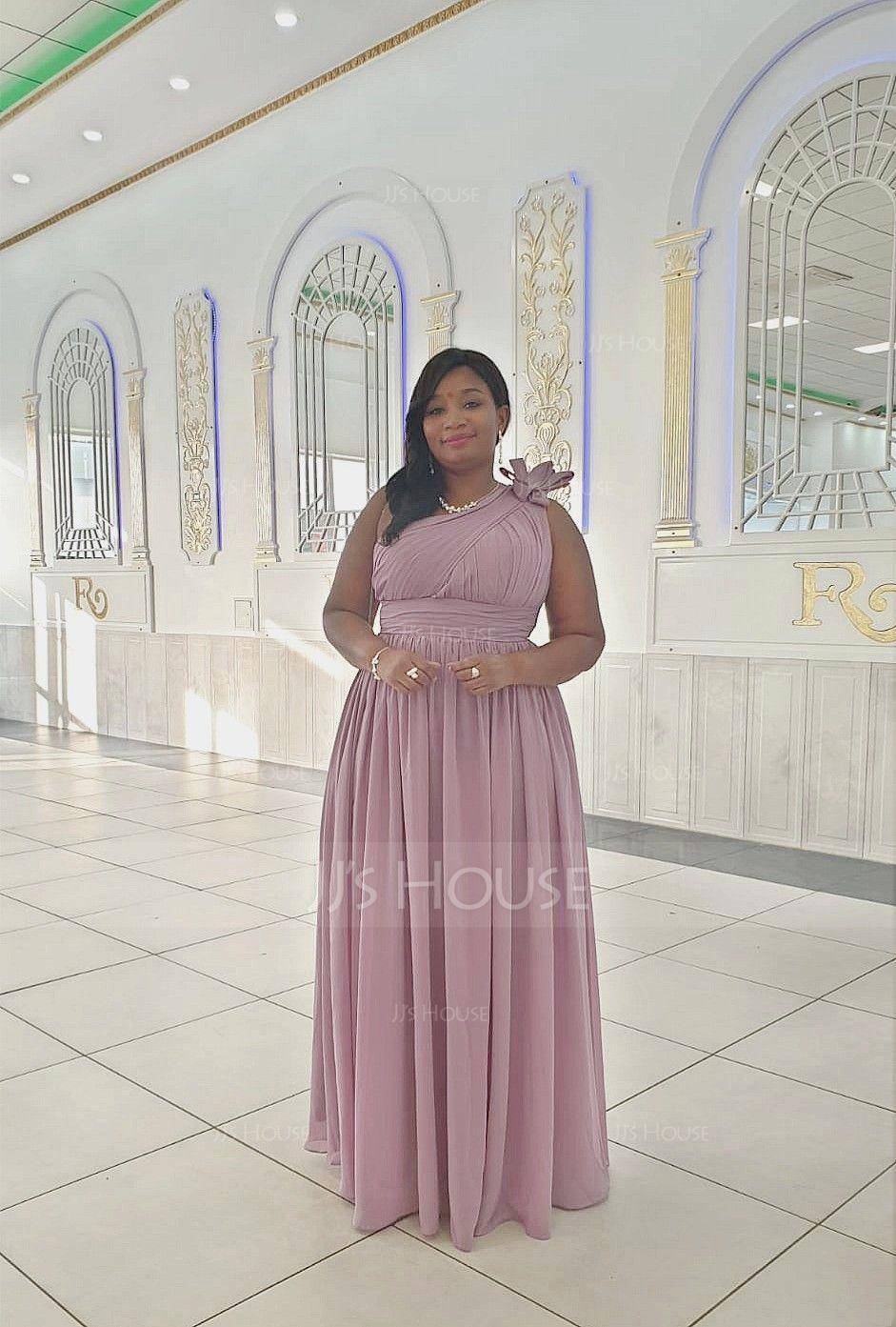 A-linjainen/Prinsessa Yksiolkaiminen Lattiaa hipova pituus Sifonki Morsiusneitojen mekko jossa Rypytys Kukka(t) (007116634)