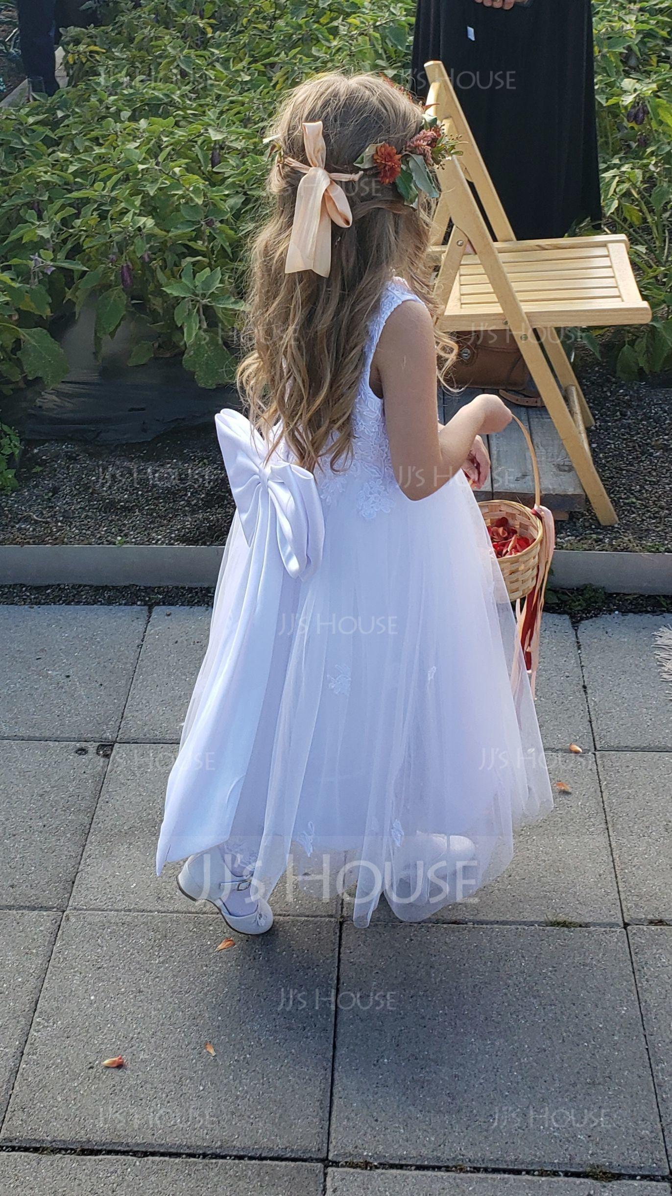 A-Line/Princess Tea-length Flower Girl Dress - Satin/Tulle Sleeveless Scoop Neck With Bow(s) (010094047)