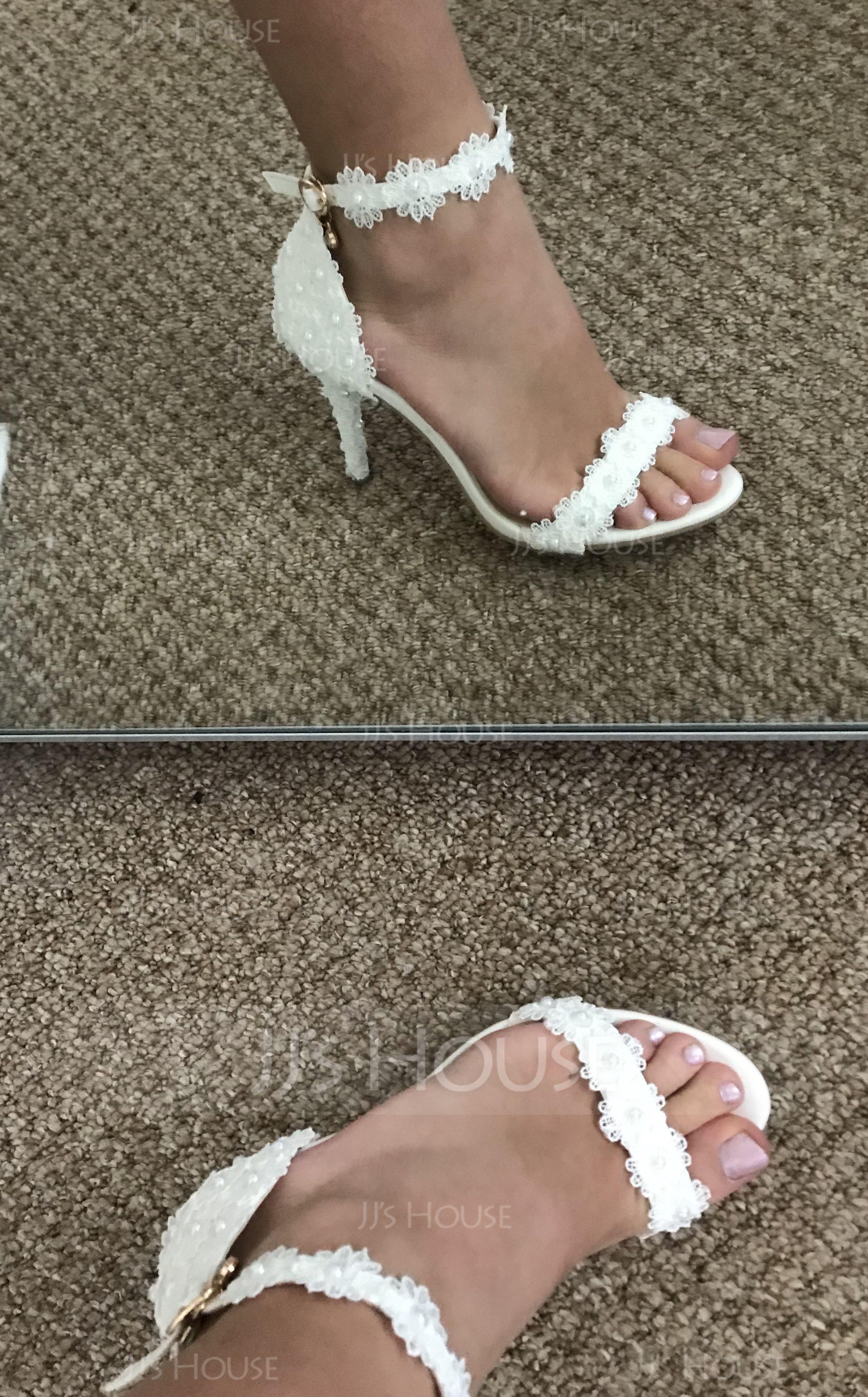 Frauen Kunstleder Stöckel Absatz Peep-Toe Plateauschuh Sandalen mit Nachahmungen von Perlen Blume (047208059)