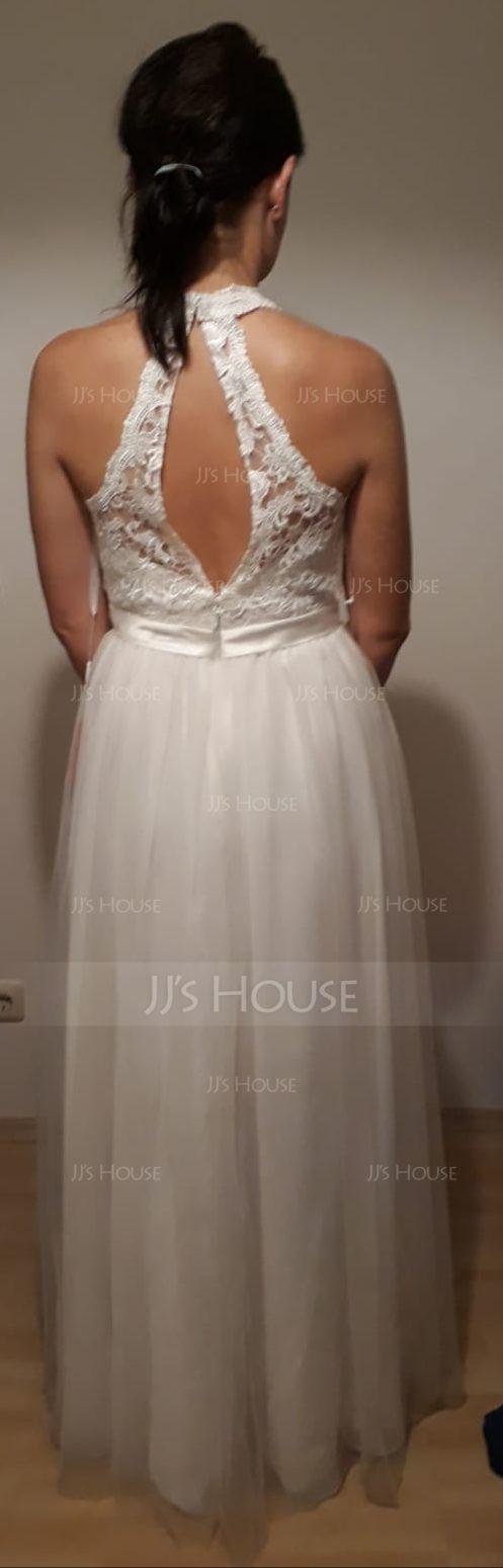 A-Line Scoop Neck Floor-Length Tulle Wedding Dress (002124265)