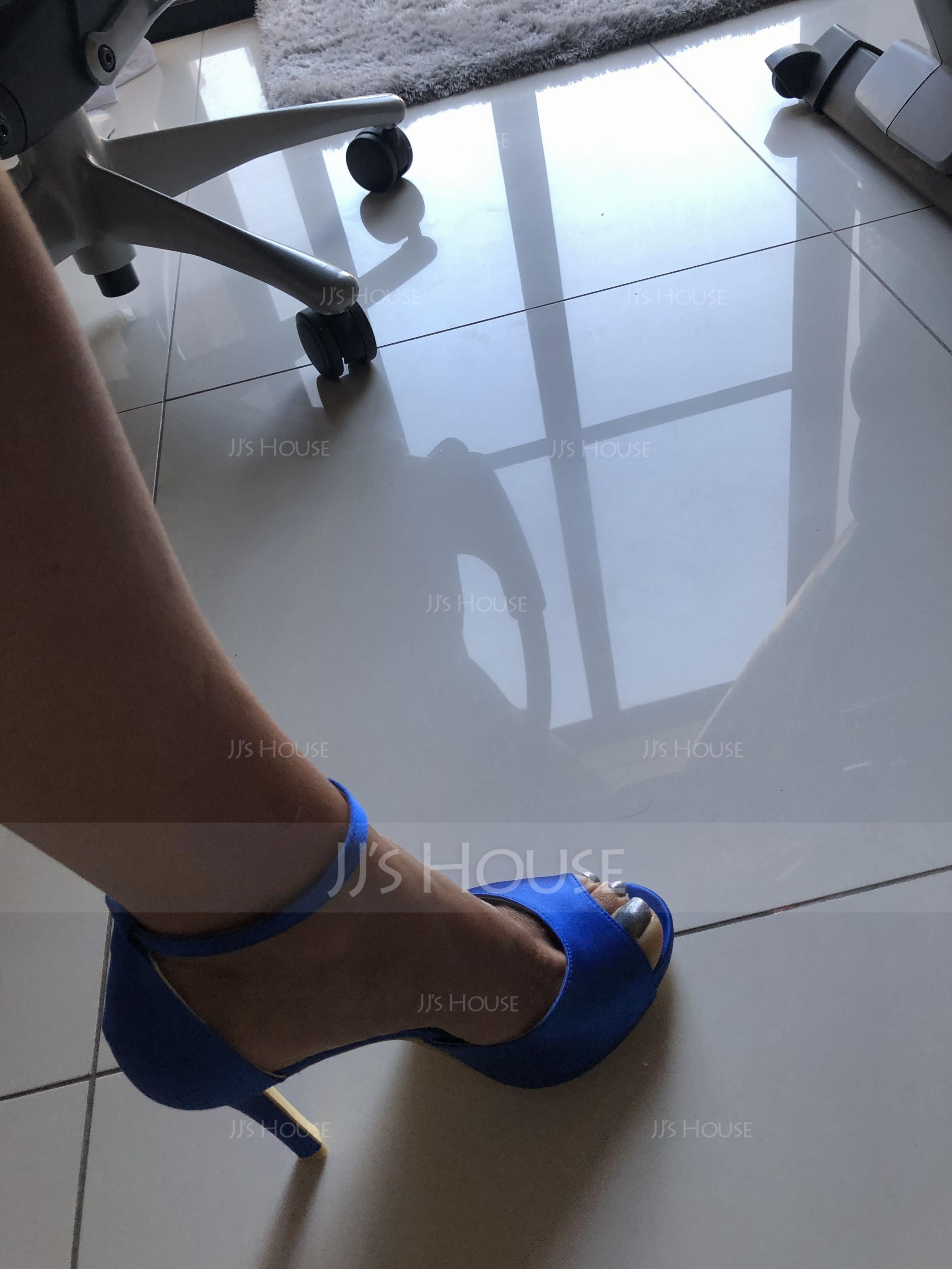 Women's Satin Stiletto Heel Peep Toe Platform Sandals With Buckle Imitation Pearl (273194796)