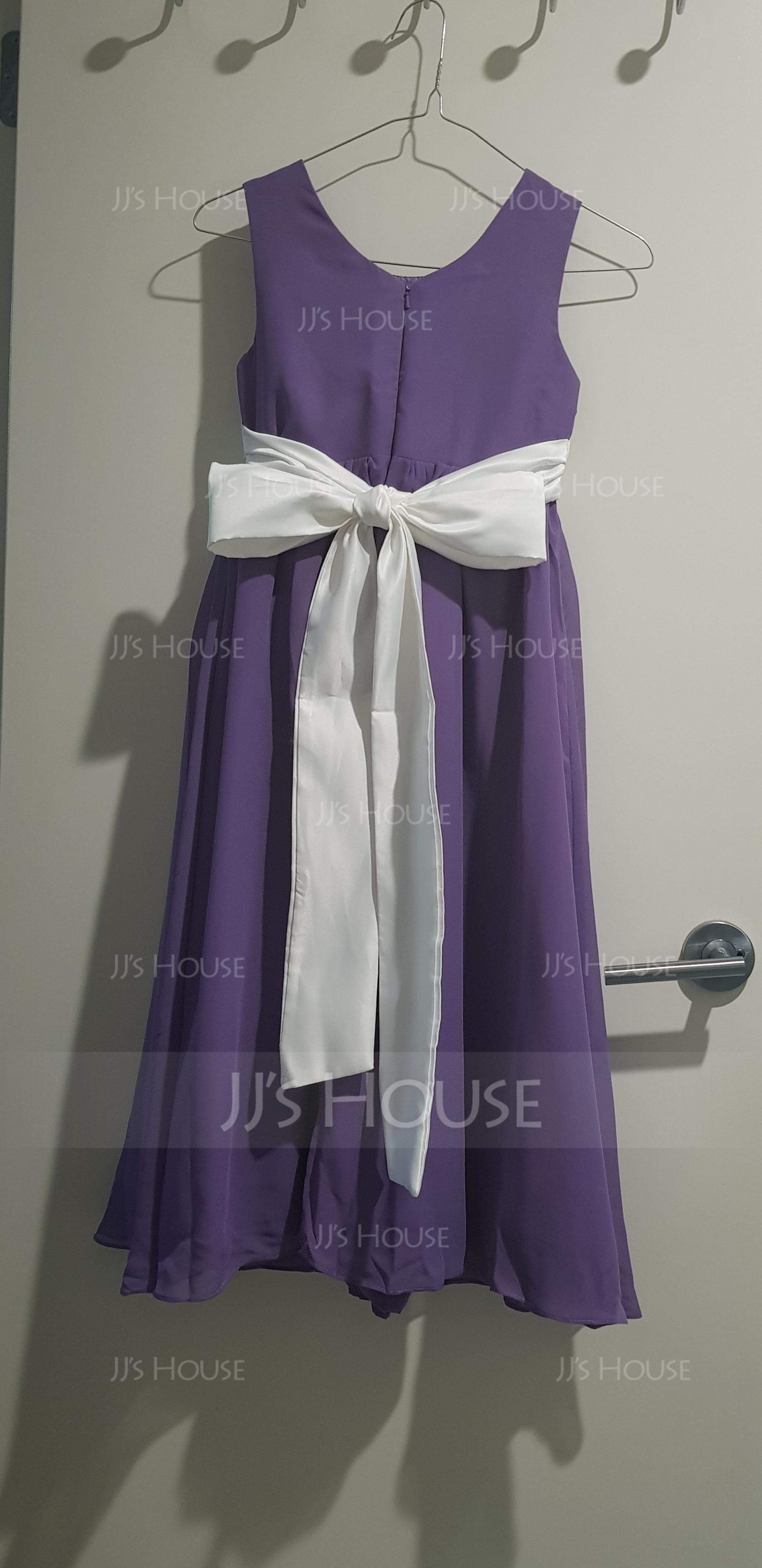A-Line/Princess Ankle-length Flower Girl Dress - Chiffon/Satin Sleeveless Scoop Neck With Sash/Bow(s) (010136597)