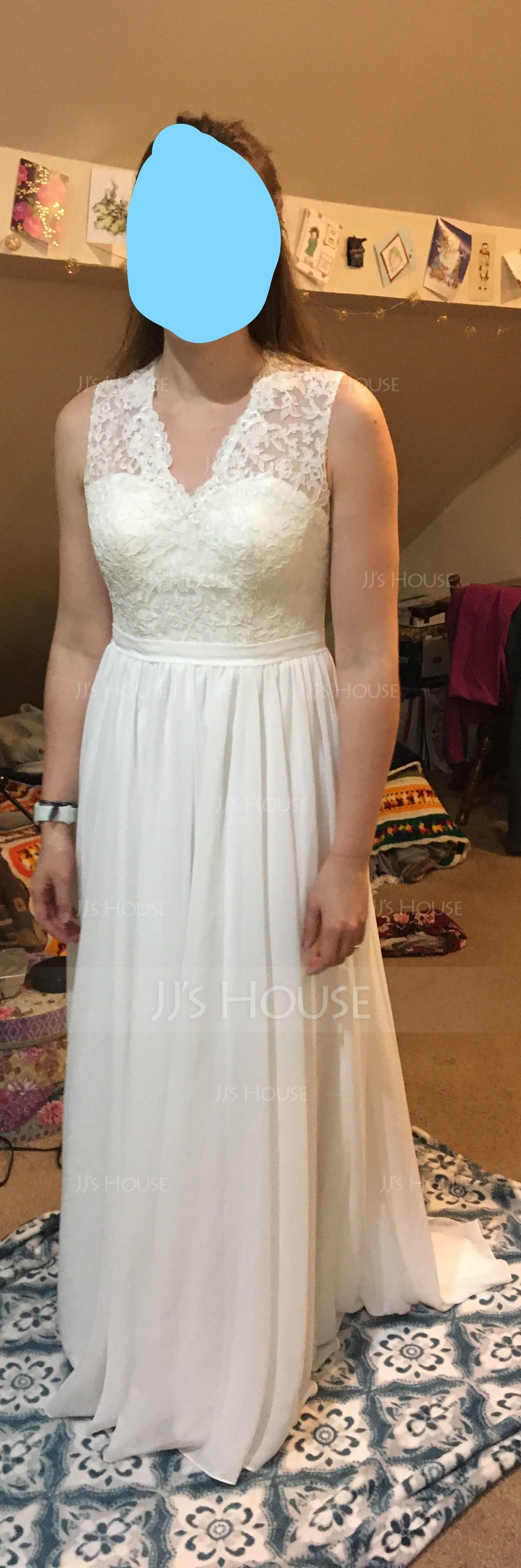 Трапеция/Принцесса V-образный Sweep/Щетка поезд шифон Кружева Платье Подружки Невесты (007104740)