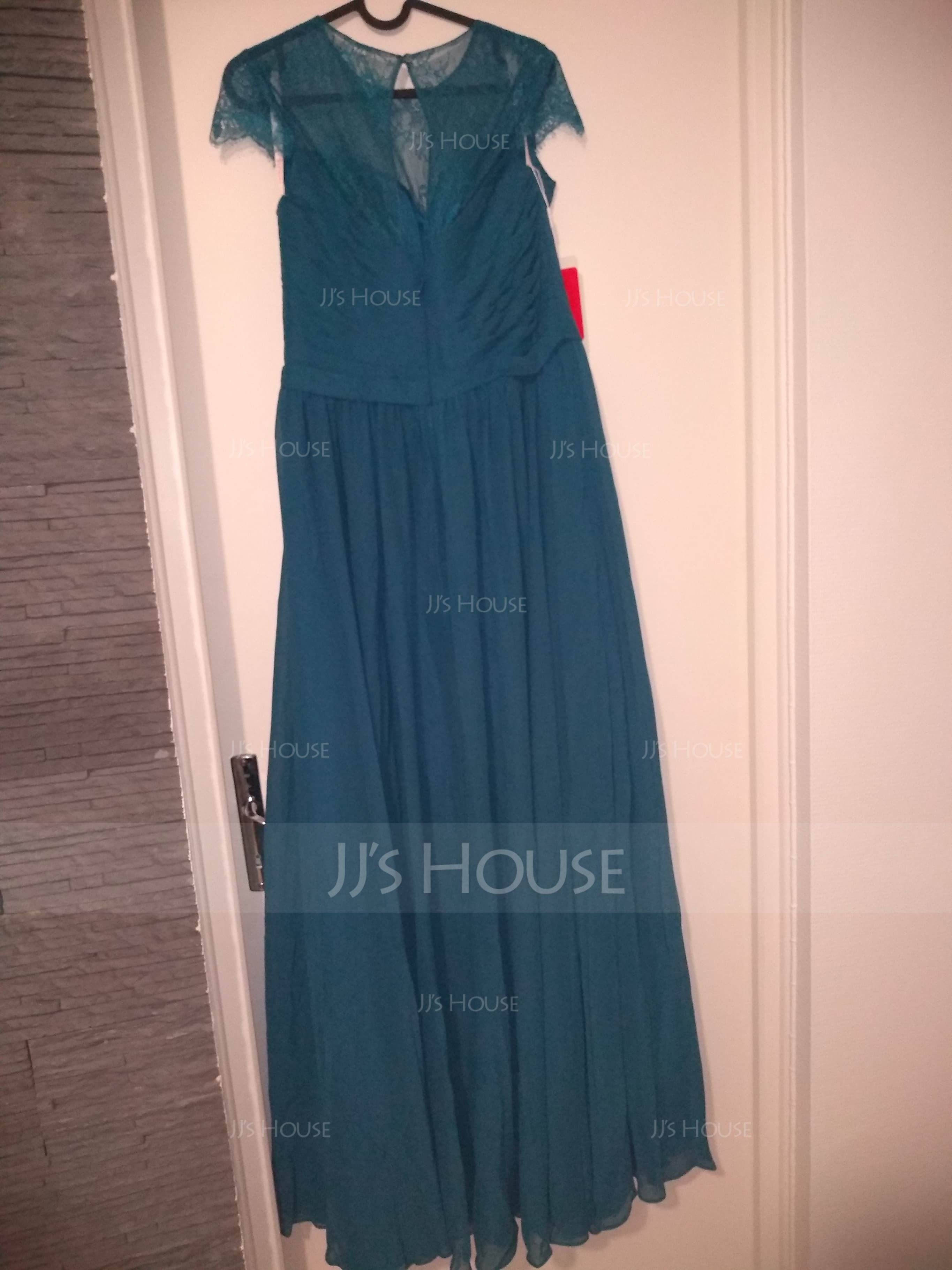 A-Line/Princess Scoop Neck Floor-Length Chiffon Lace Bridesmaid Dress With Ruffle (266183728)