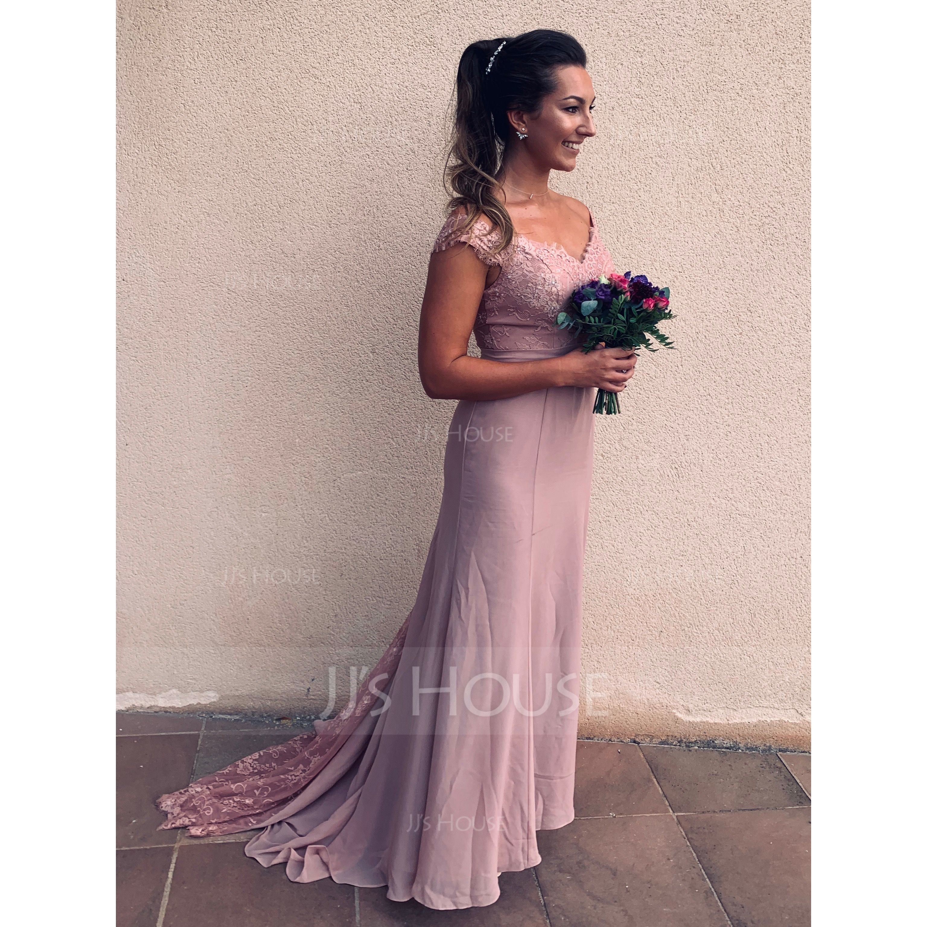 Trumpet/Mermaid Off-the-Shoulder Court Train Chiffon Lace Bridesmaid Dress (007104725)