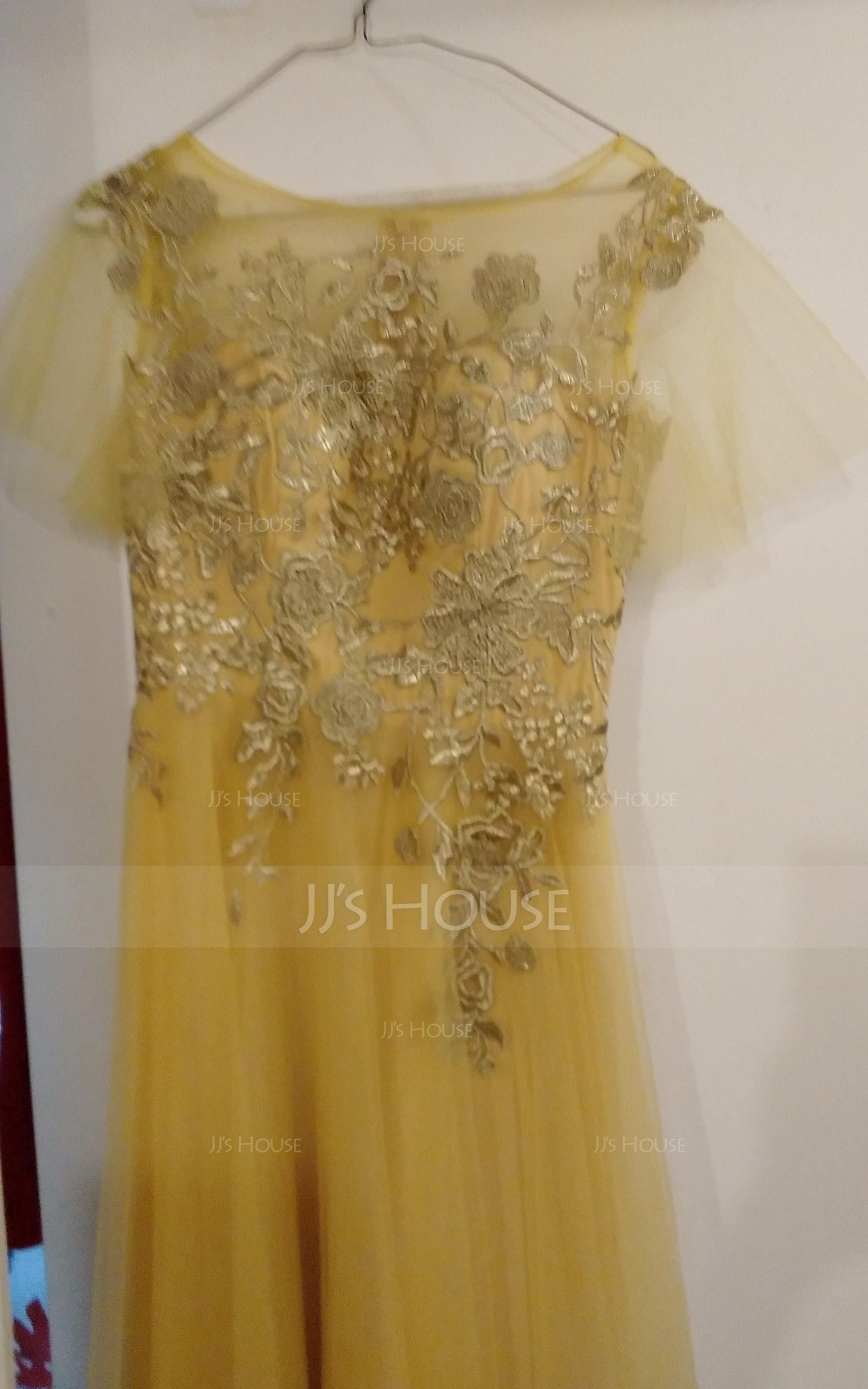 A-Line/Princess Scoop Neck Floor-Length Tulle Mother of the Bride Dress With Lace (008131947)