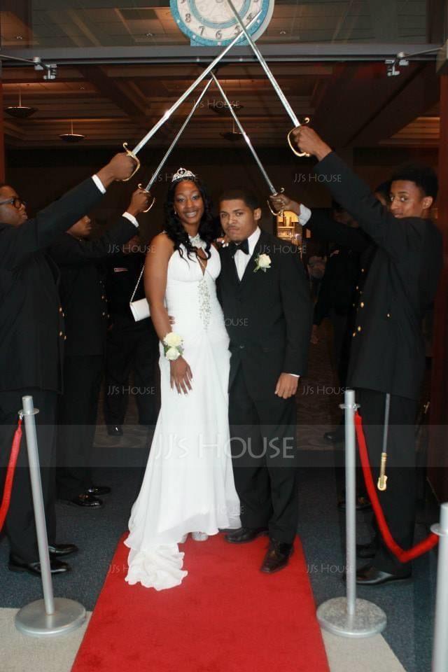 Trumpet/Mermaid Scoop Neck Chapel Train Chiffon Prom Dresses With Ruffle Beading Sequins (018016766)