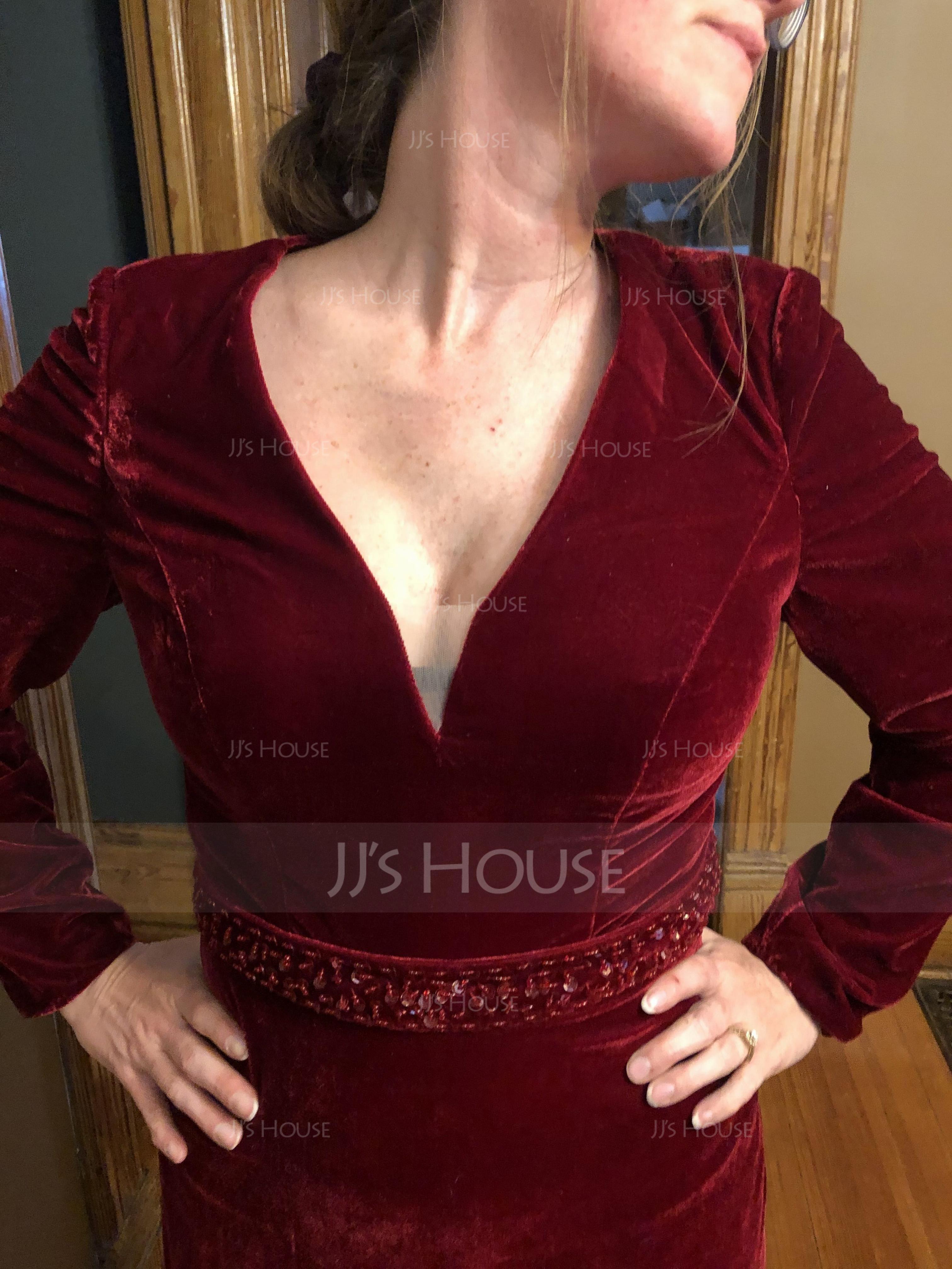 Trumpet/Mermaid V-neck Sweep Train Velvet Evening Dress With Beading Sequins (017137377)