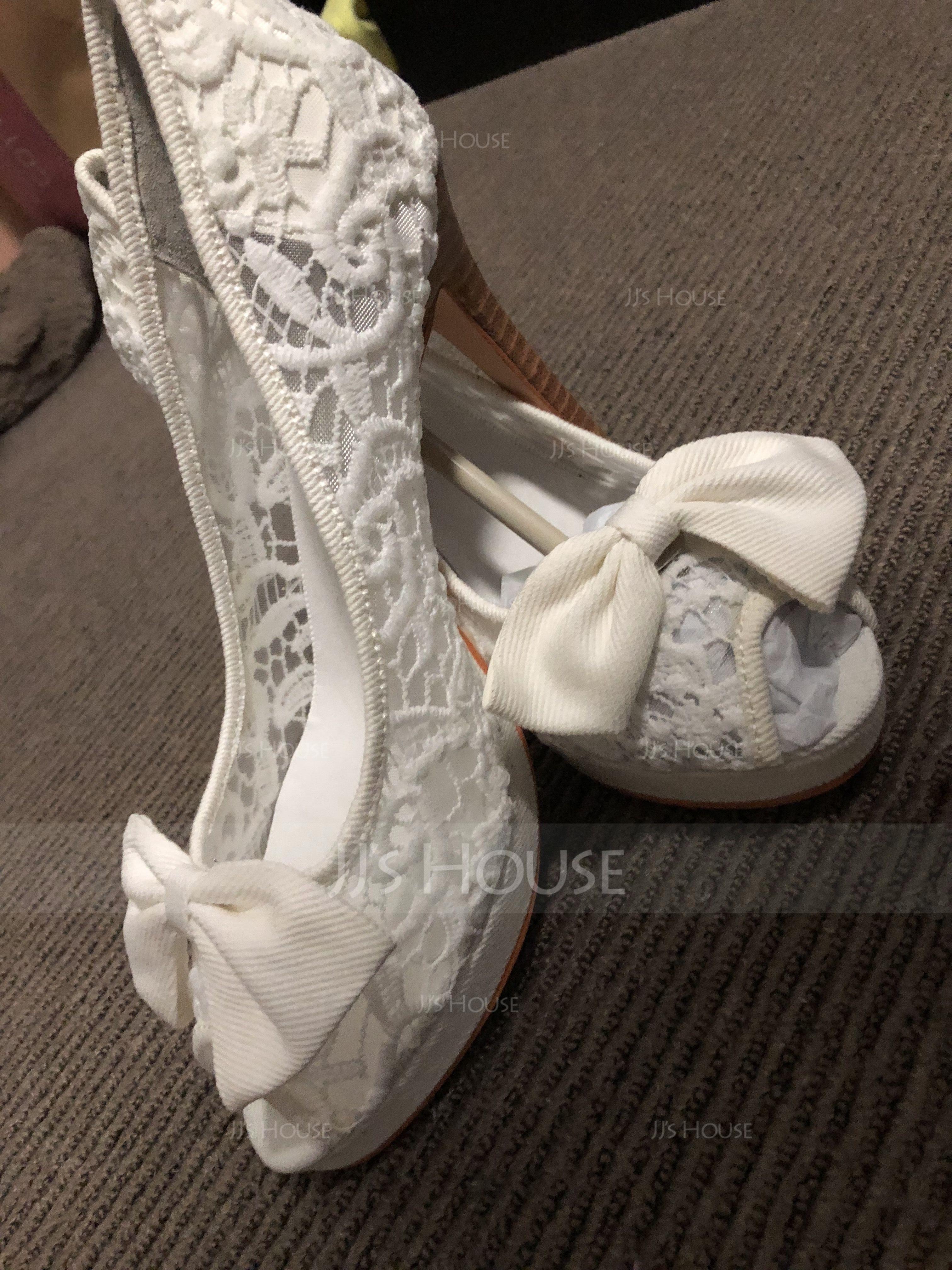 Naisten Pitsi Piikkikorko Peep toe Platform Beach Wedding Shoes jossa Bowknot (047126538)