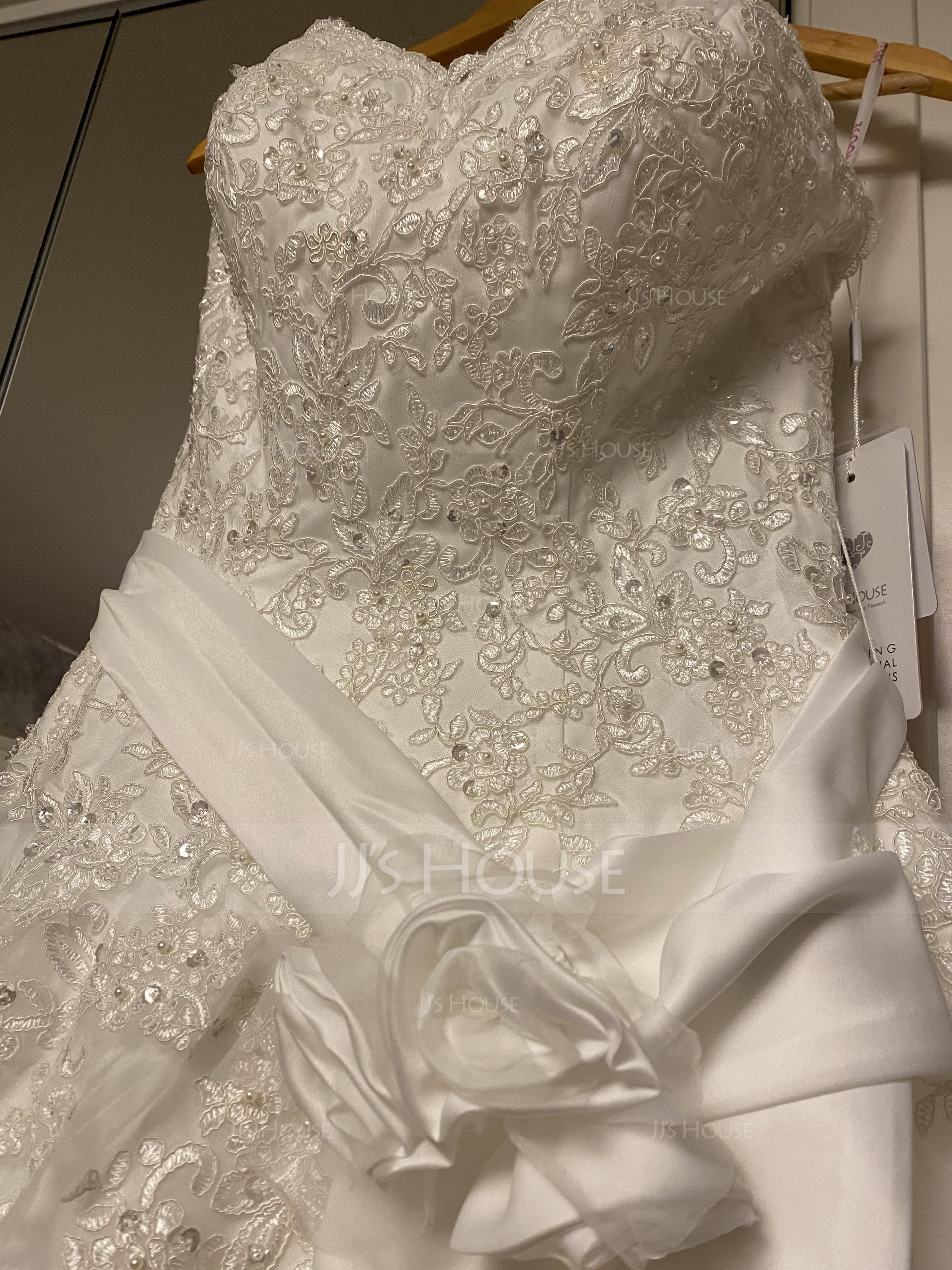 Balklänning Älskling Court släp Satäng Organzapåse Spets Bröllopsklänning med Beading Blomma (or) (002011970)