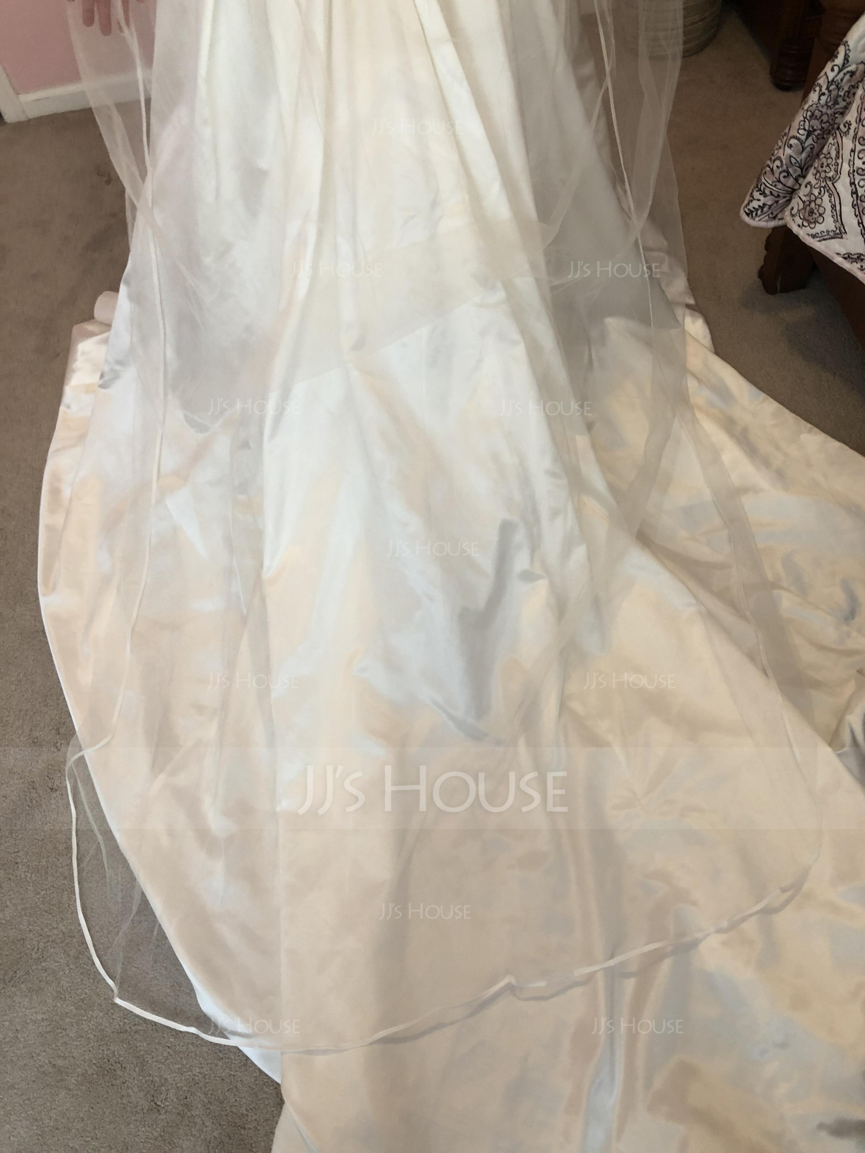 Two-tier Chapel Bridal Veils With Ribbon Edge (006036667)