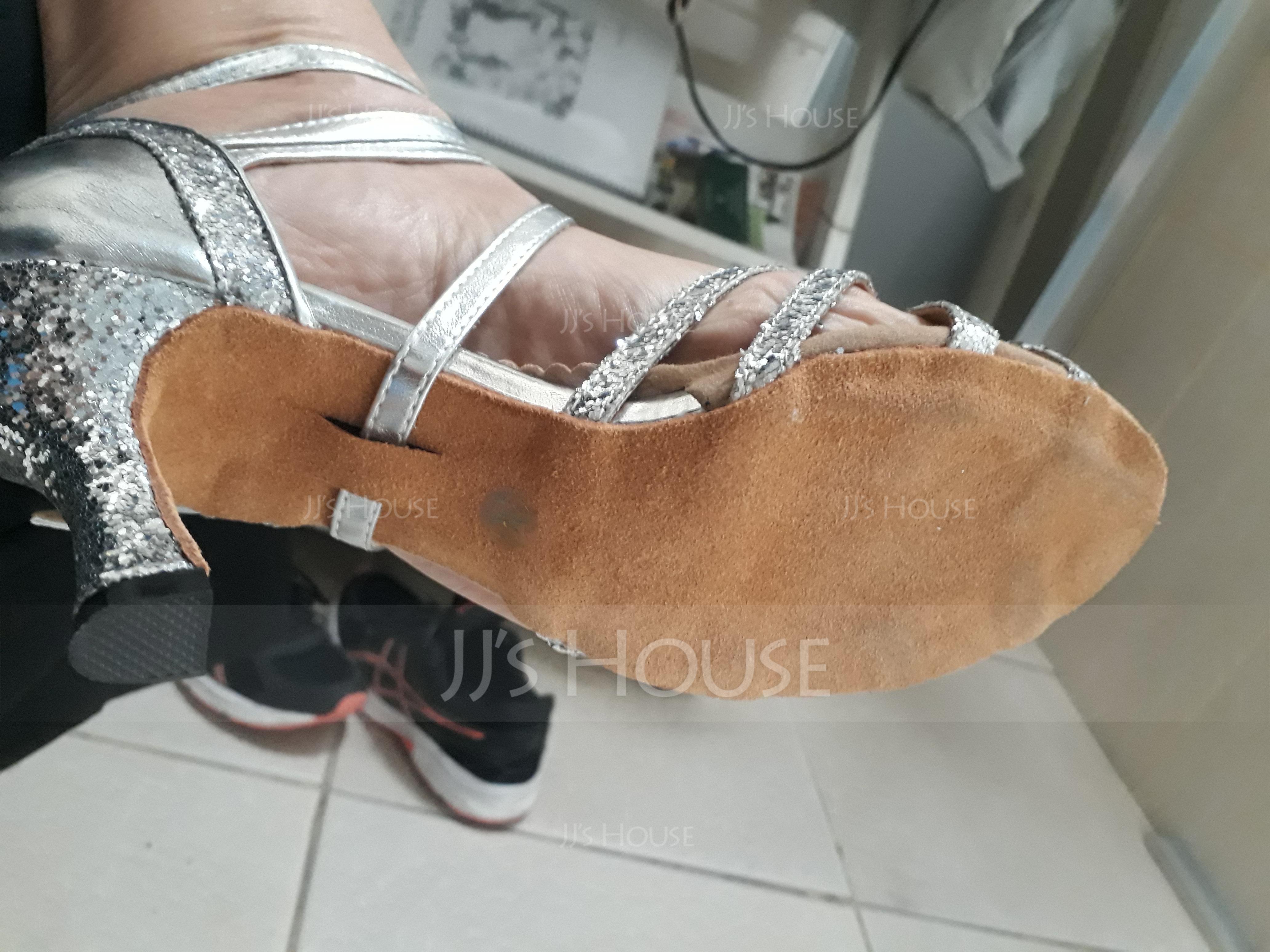 Women's Leatherette Sparkling Glitter Heels Sandals Latin Dance Shoes (053119941)