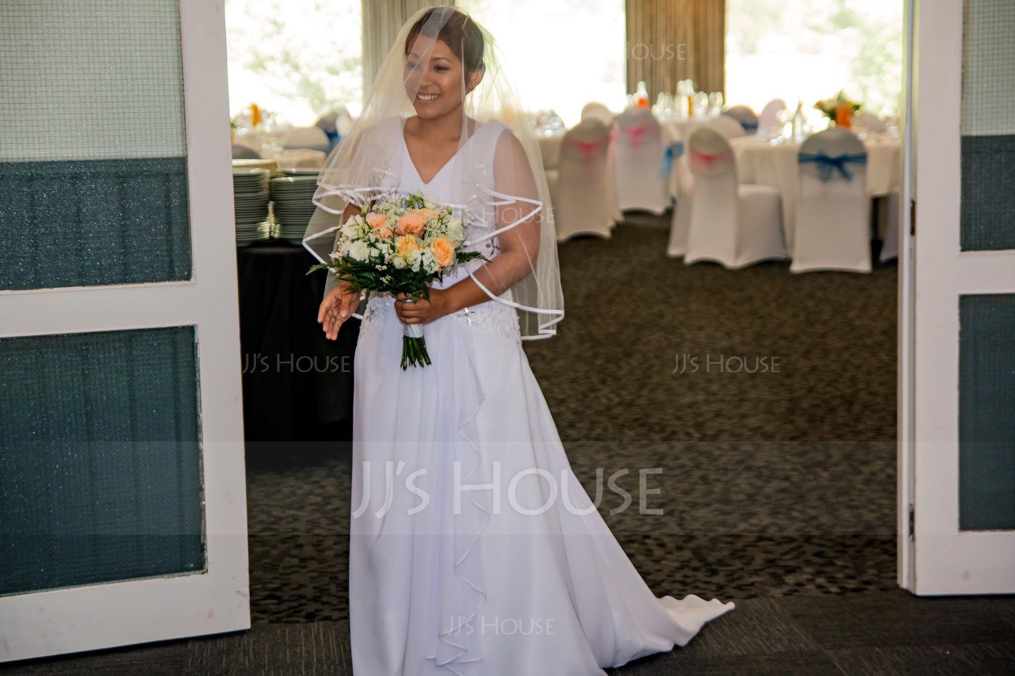 A-Line/Princess V-neck Court Train Chiffon Wedding Dress With Beading Appliques Lace Sequins Cascading Ruffles (002040421)