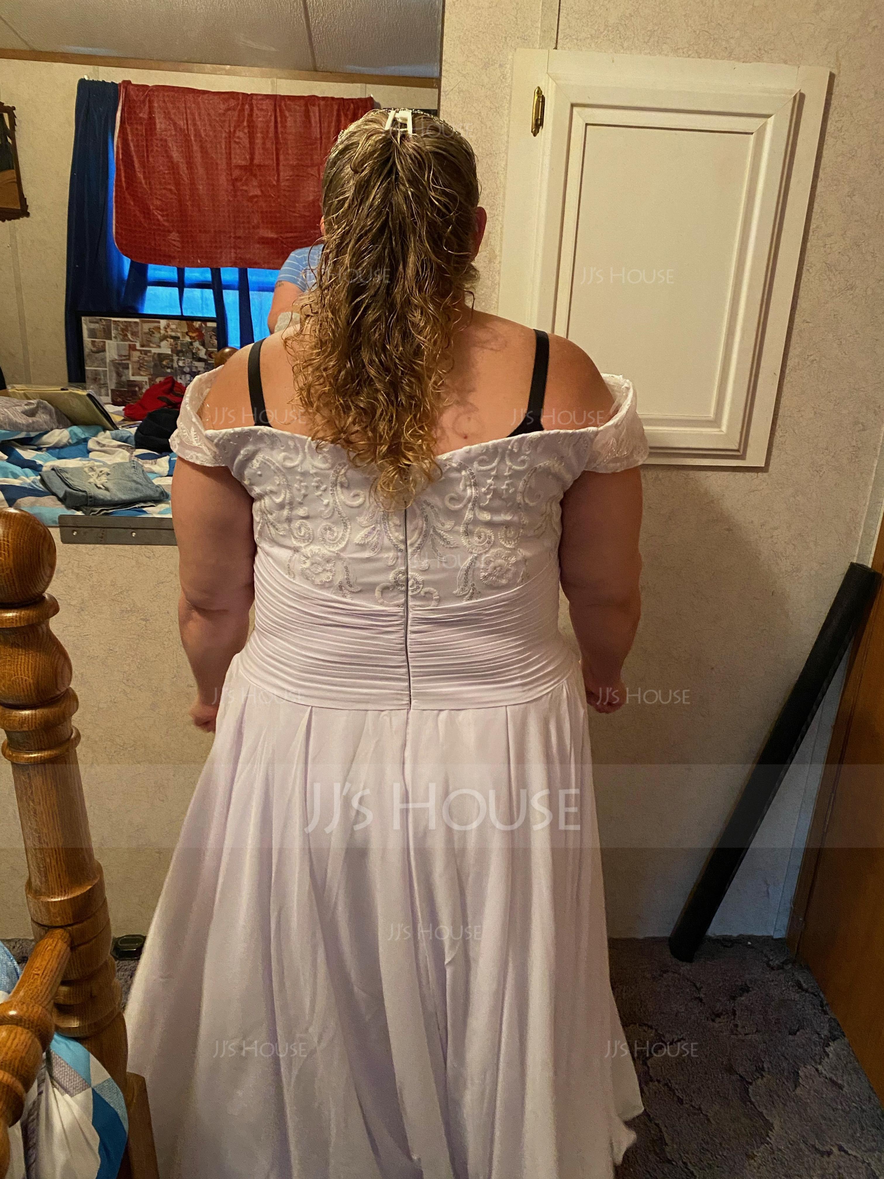 Aライン オフショルダー 非対称 シフォン ウエディングドレス とともに スパンコール