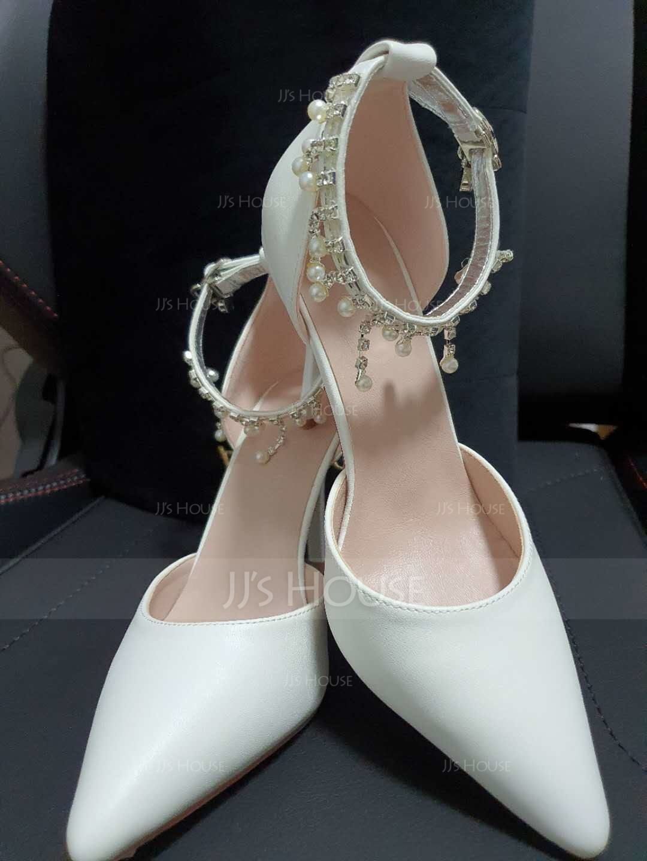 Women's Leatherette Stiletto Heel Closed Toe Pumps With Imitation Pearl Rhinestone (047113659)