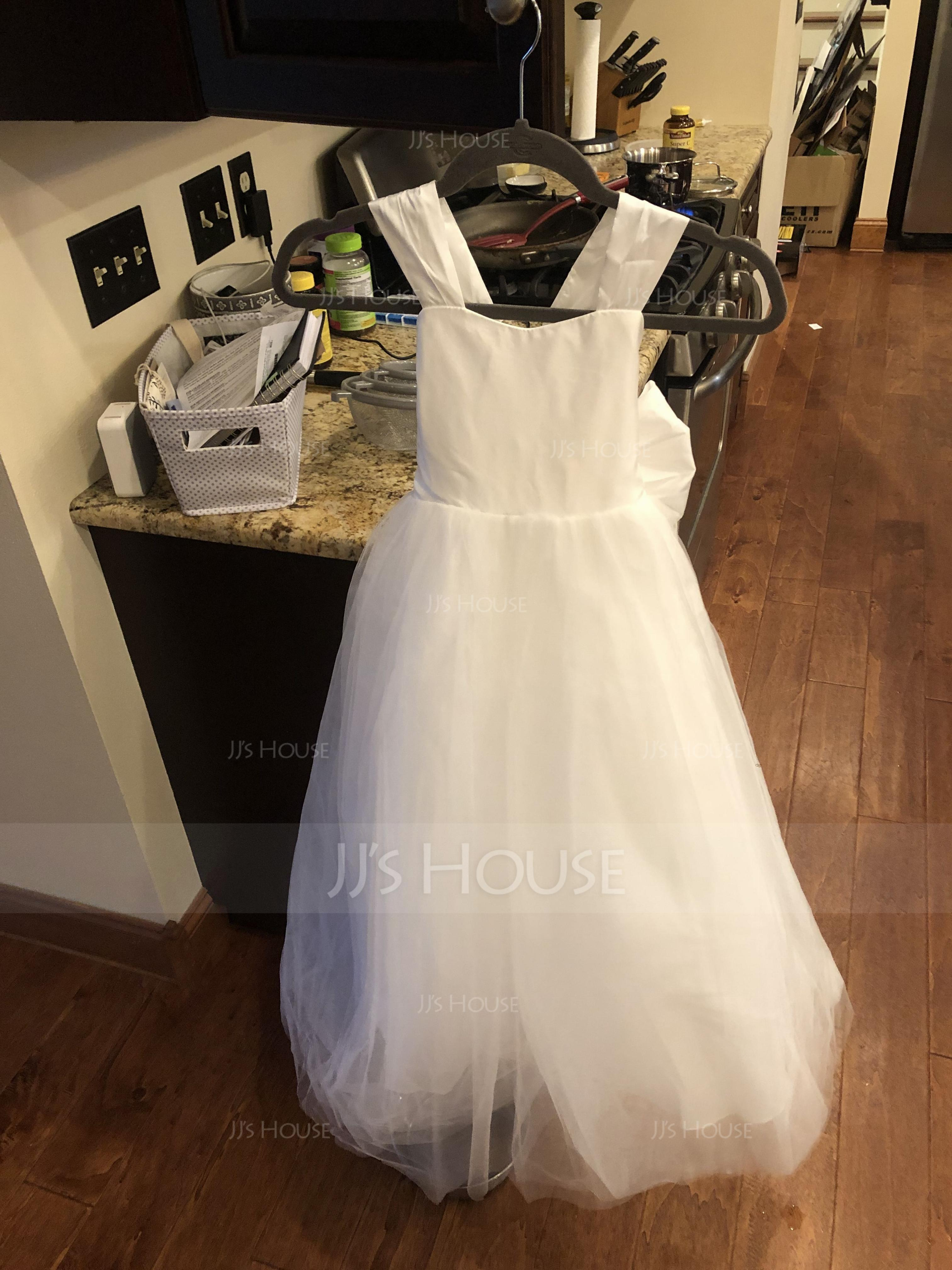 Ball Gown Floor-length Flower Girl Dress - Taffeta/Tulle Sleeveless Sweetheart With Bow(s) (010136601)