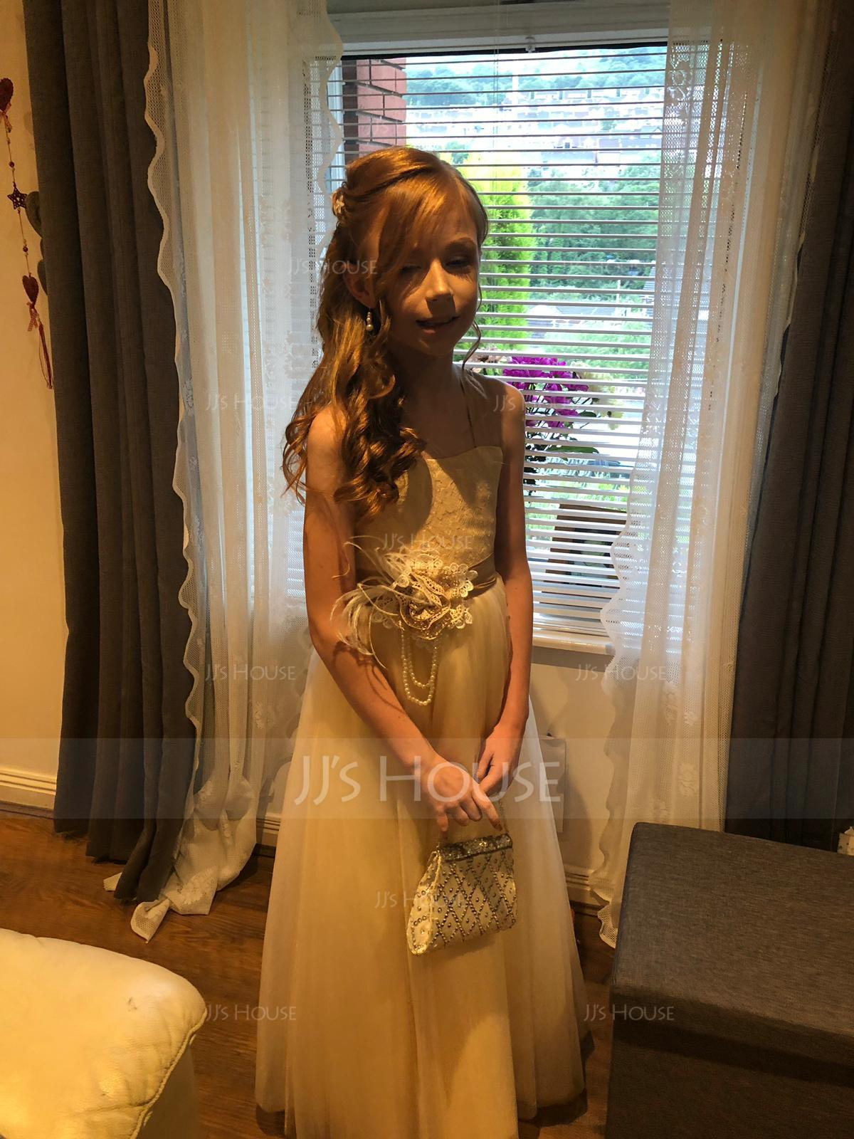 Ball Gown Floor-length Flower Girl Dress - Tulle/Lace Sleeveless Straps With Flower(s) (010091704)