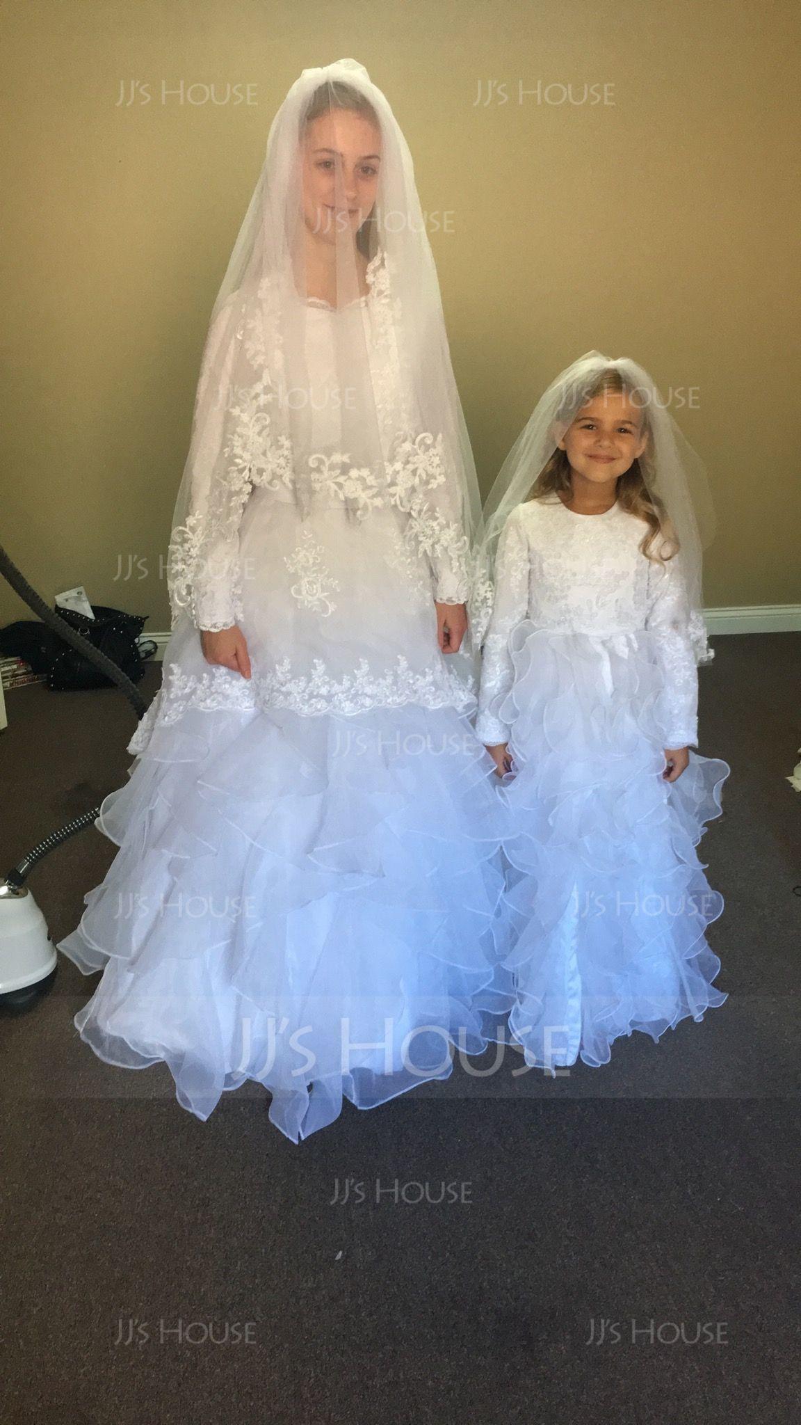 Ball Gown Floor-length Flower Girl Dress - Organza Sleeveless Scoop Neck With Ruffles (010091421)