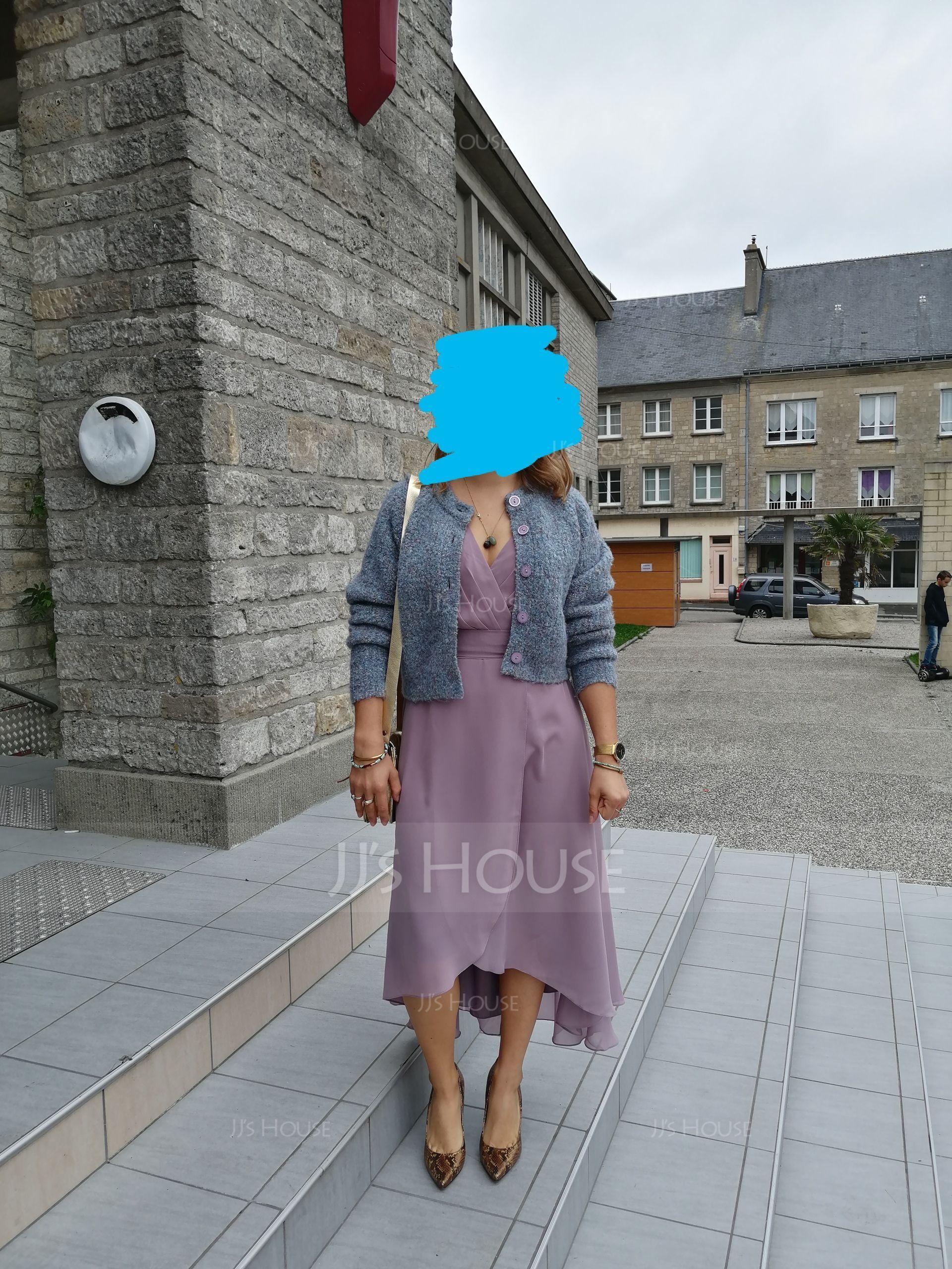 V-Neck Sleeveless Asymmetrical Dresses (293250416)