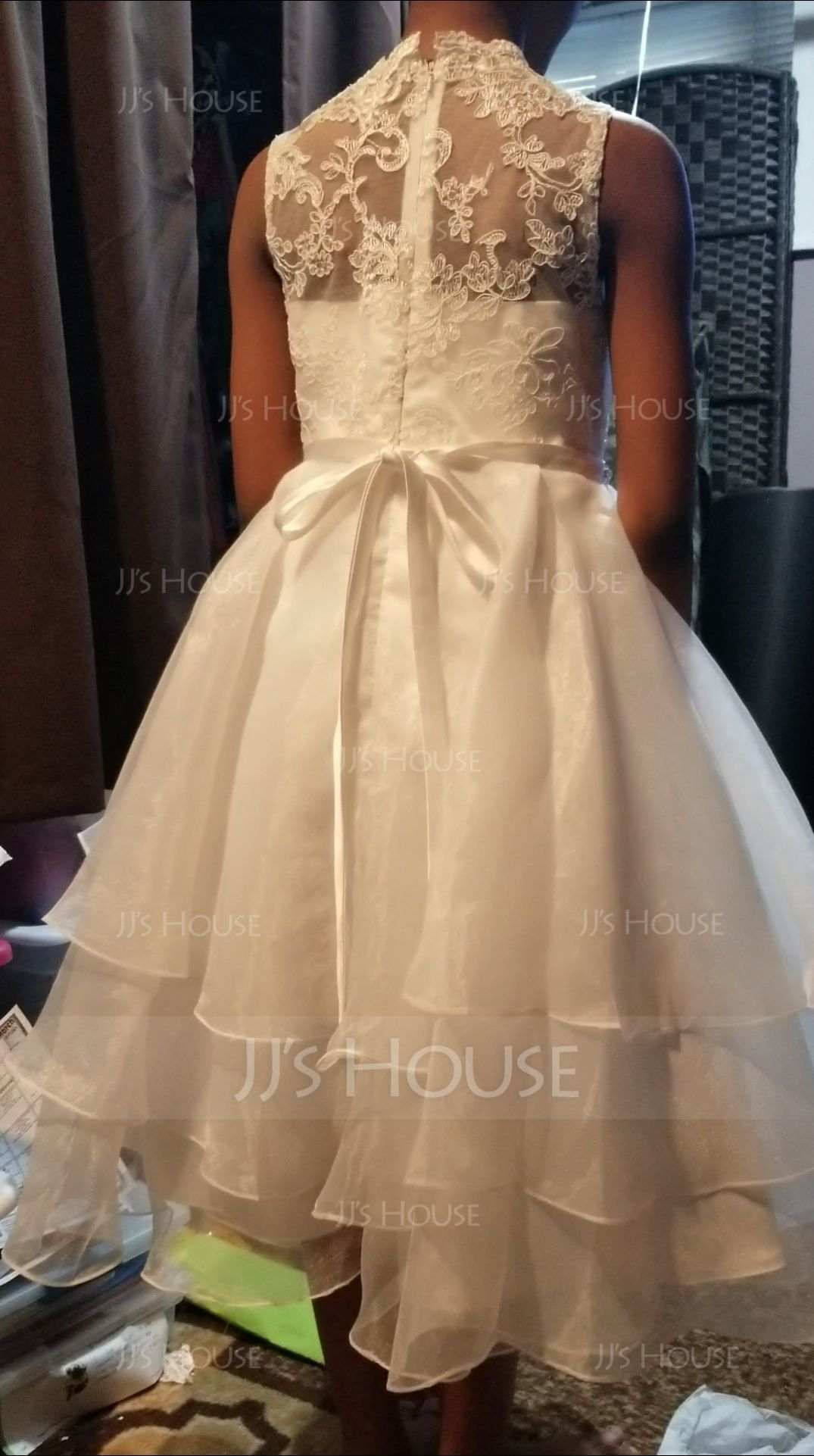 A-Line Tea-length Flower Girl Dress - Organza/Lace Sleeveless Scoop Neck With Beading/Rhinestone (010172374)