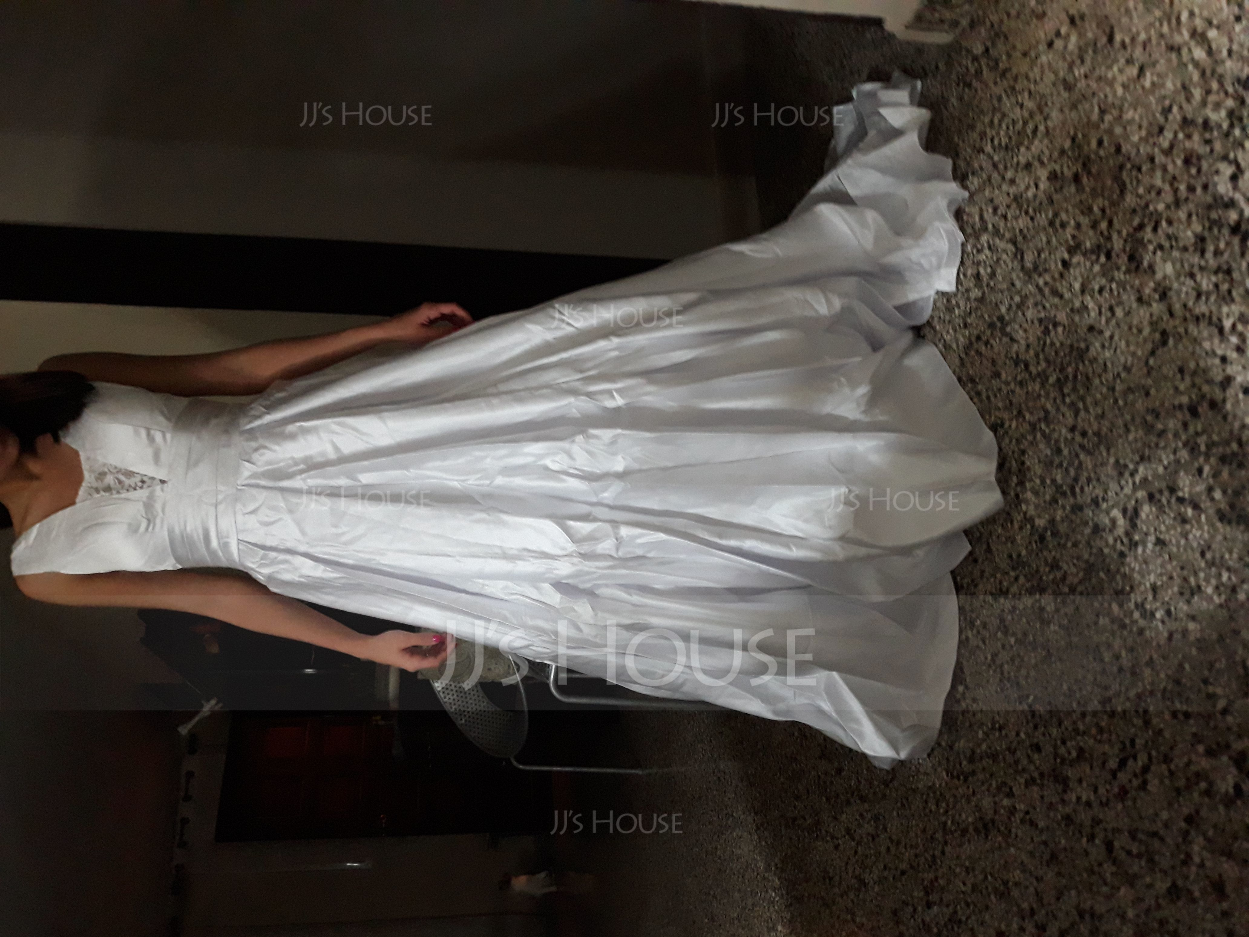 Ball-Gown V-neck Sweep Train Satin Wedding Dress With Lace (002121441)