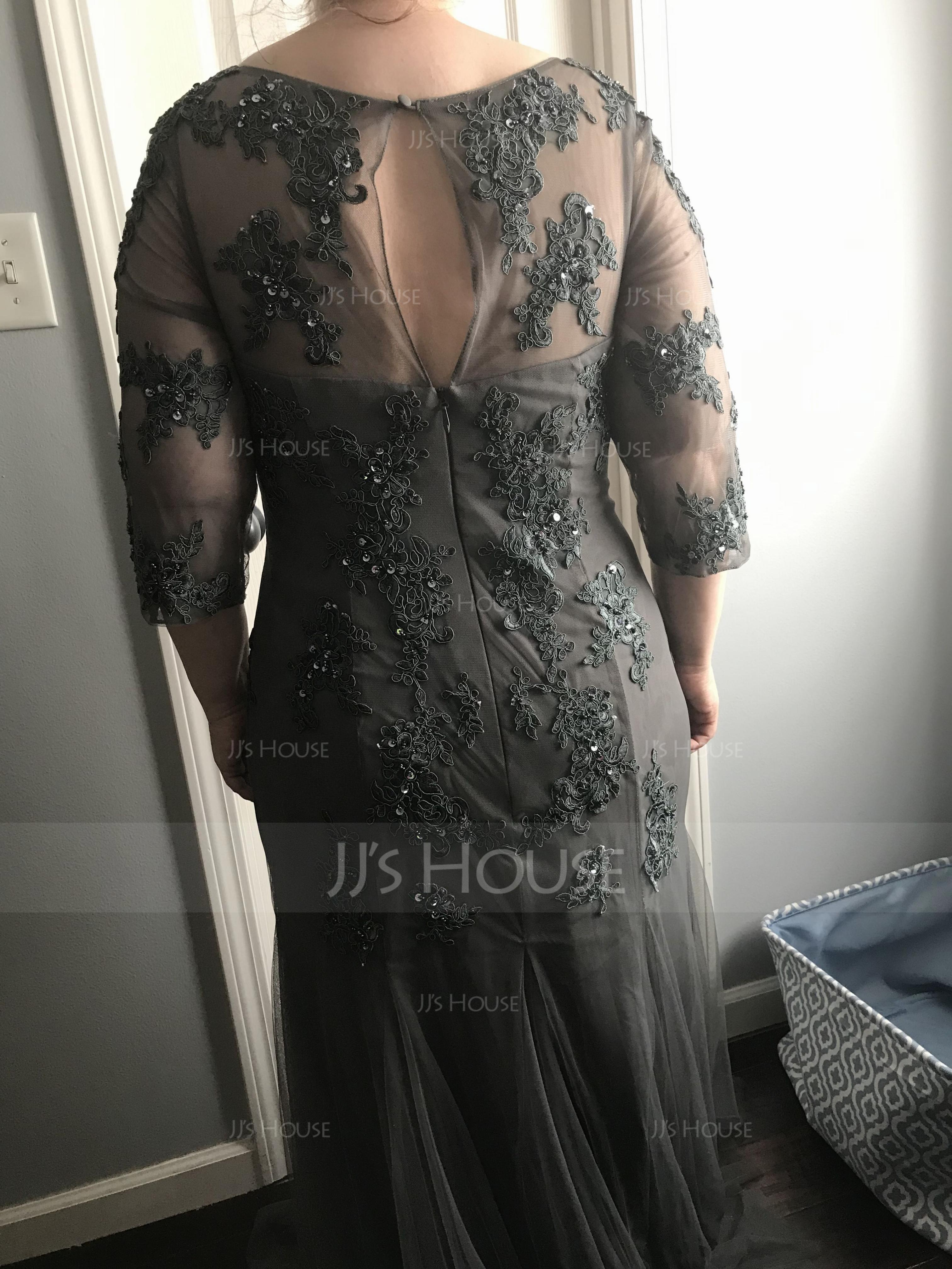 A-formet/Prinsesse Scoop Hals Gulvlengde Tyll Kjole til brudens mor med Profilering paljetter (008091961)