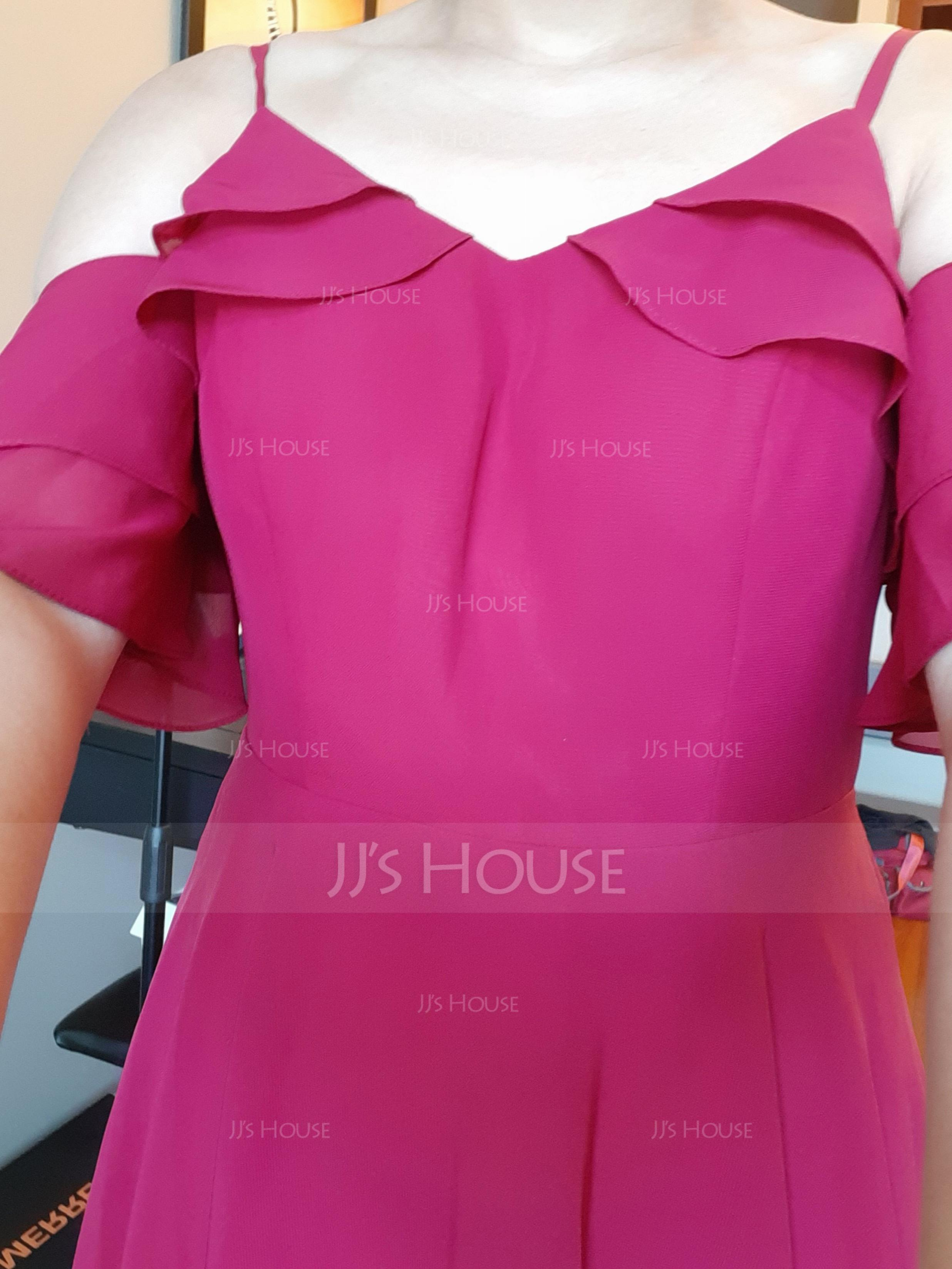 A-Line V-neck Knee-Length Chiffon Cocktail Dress With Cascading Ruffles (016197079)
