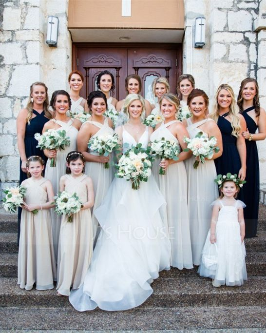 A-Linie V-Ausschnitt Bodenlang Chiffon Kleider für junge Brautjungfern mit Rüschen Schleife(n) (009097070)