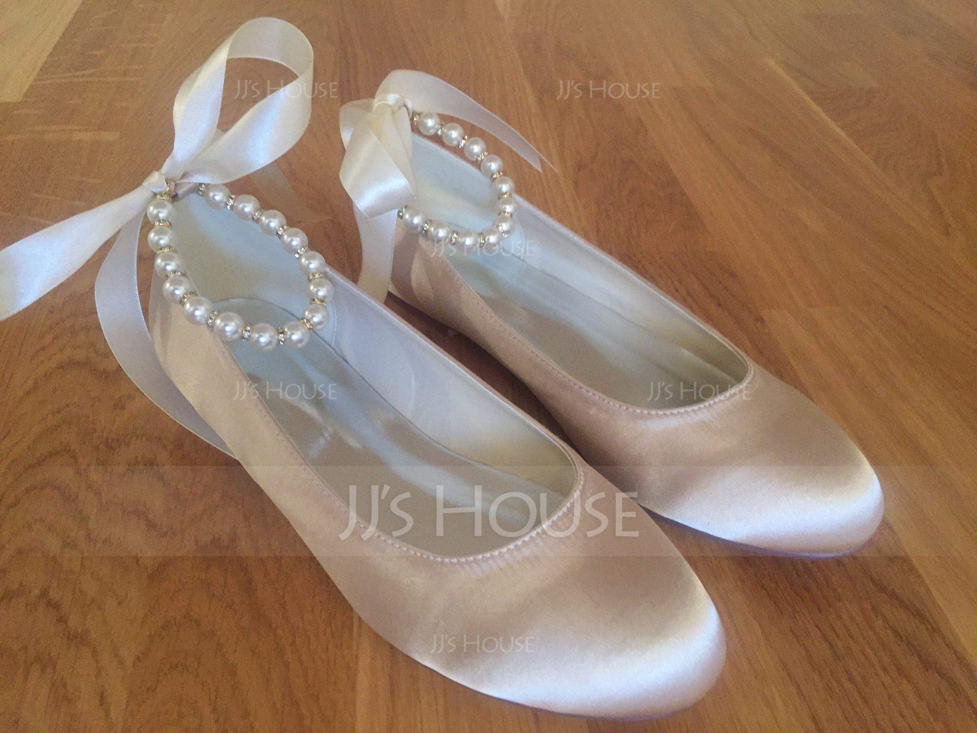 Vrouwen Satijn Flat Heel Closed Toe Flats met Imitatie Parel (047077970)