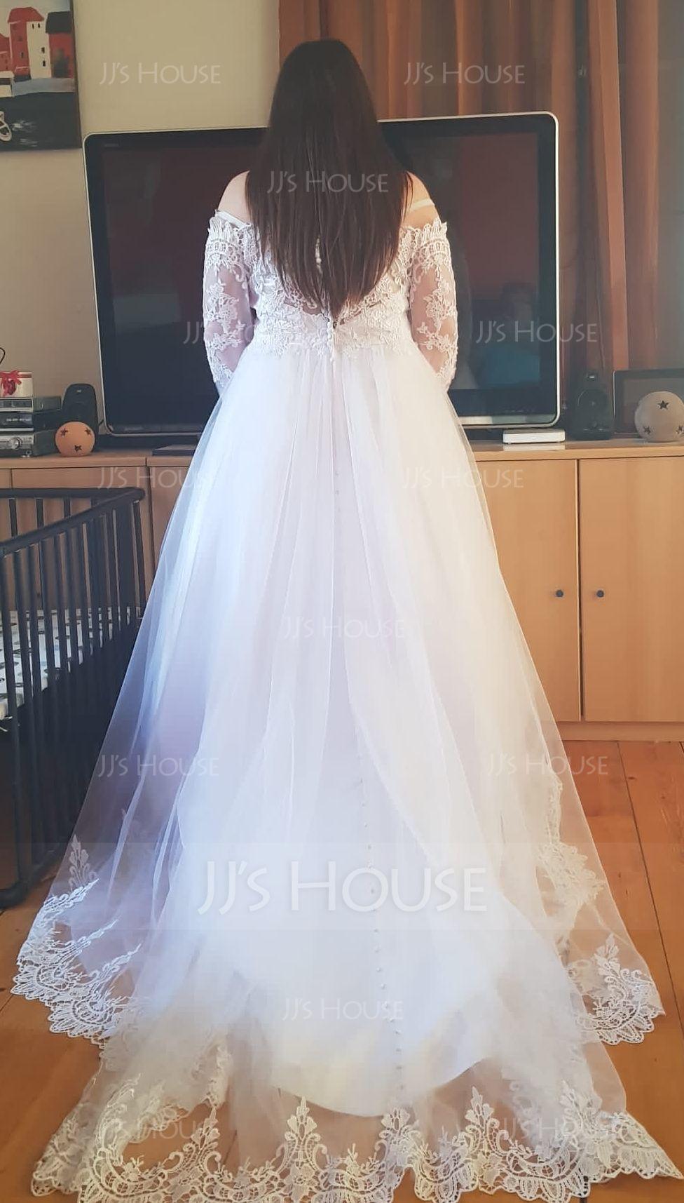 Robe Marquise Hors-la-épaule Traîne mi-longue Tulle Dentelle Robe de mariée (002134399)