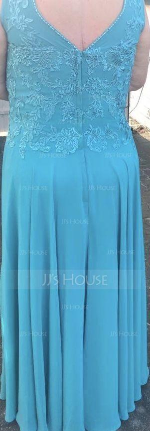 A-linjainen/Prinsessa V-kaula-aukko Lattiaa hipova pituus Sifonki Morsiamen äiti-mekko jossa Applikaatiot Pitsi (008074209)