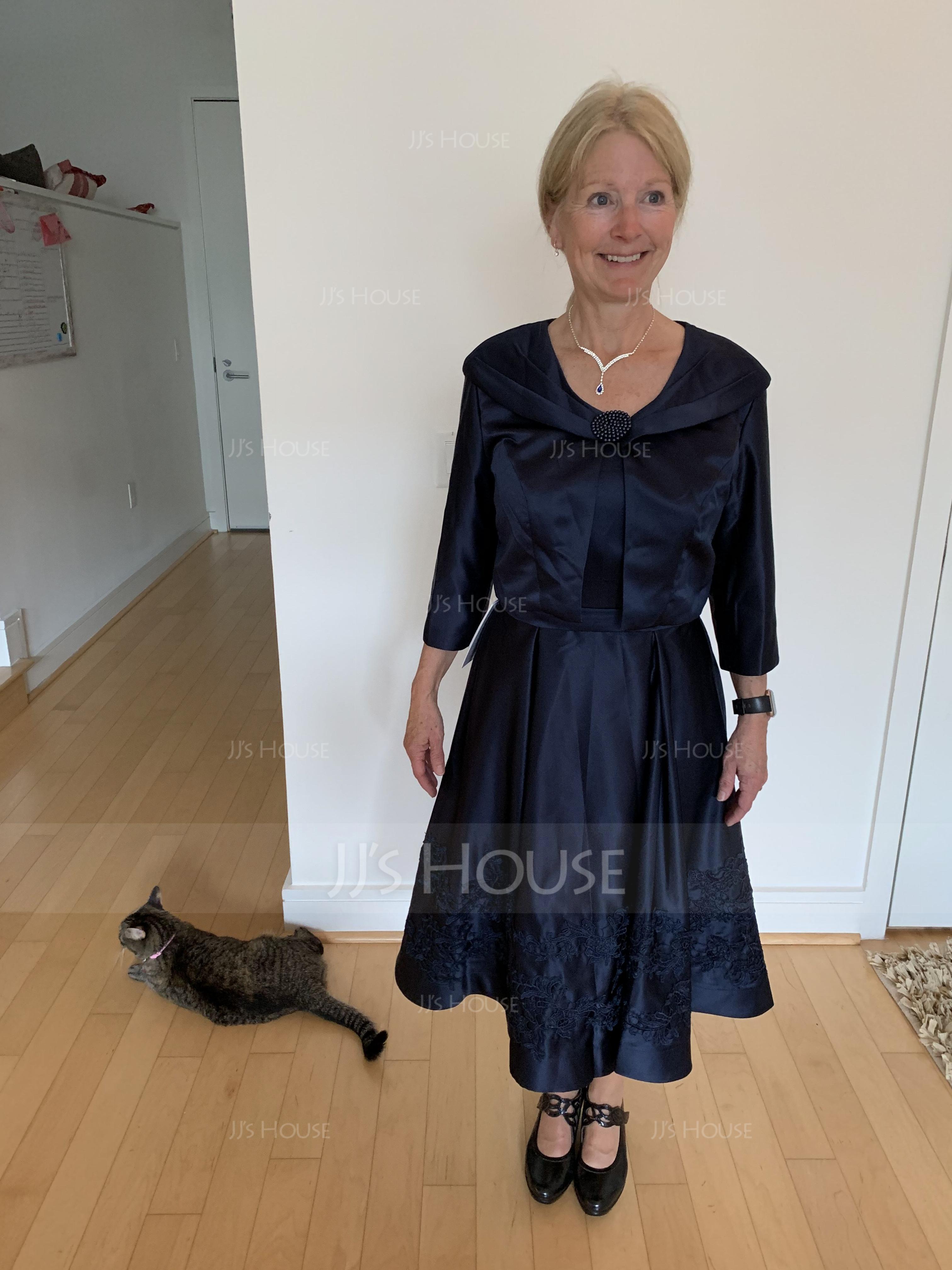 A-Linjainen Square Pääntie Polvipituinen Satiini Morsiamen äiti-mekko jossa Applikaatiot Pitsi (008131969)