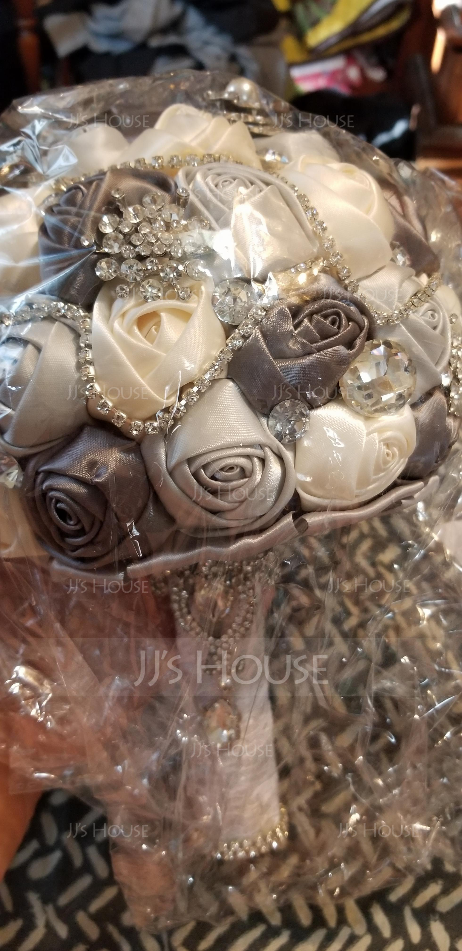 Round Satin/Silk/Rhinestone Bridal Bouquets - (123114701)