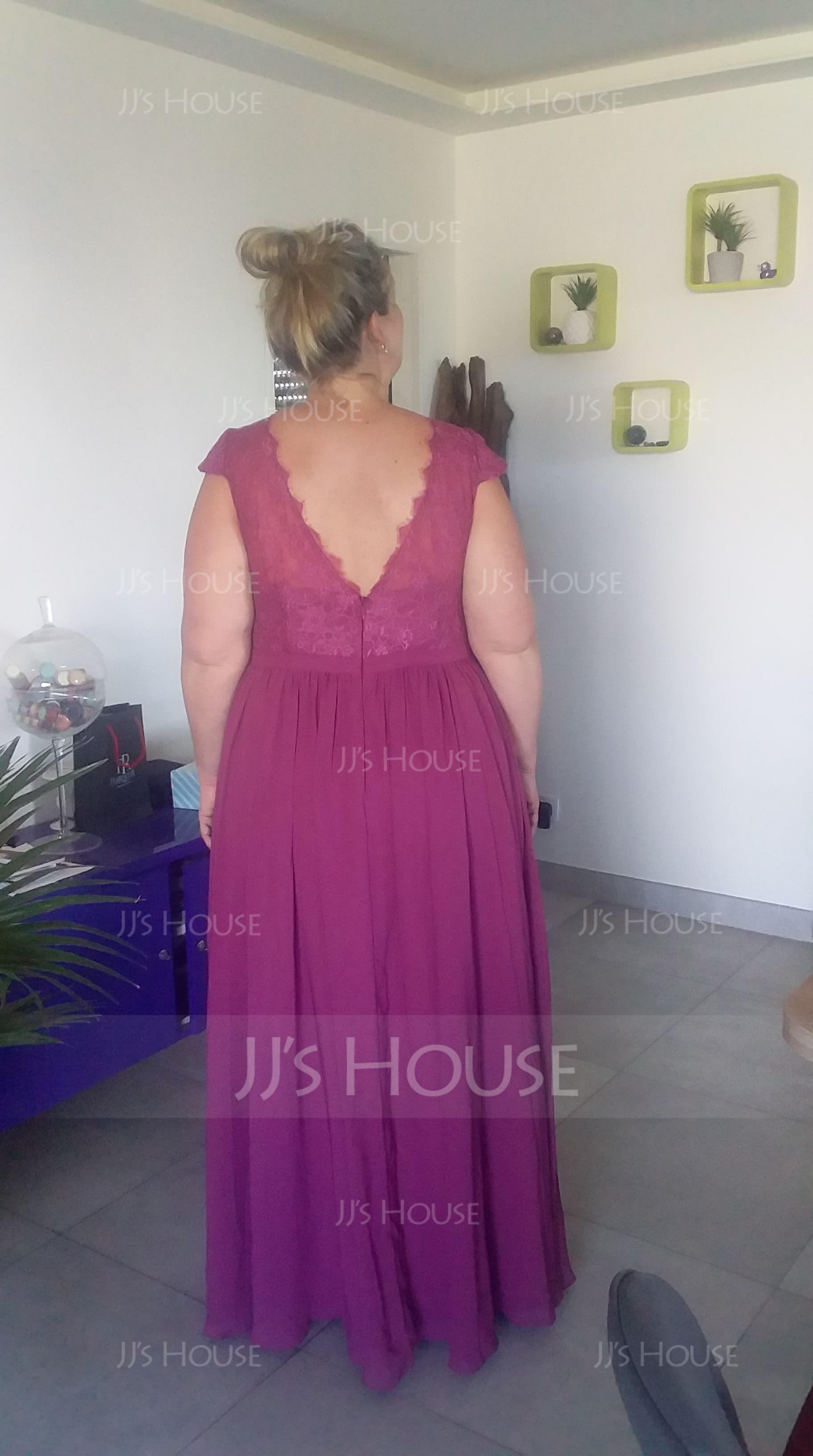 A-Line Cap Sleeve Floor-length Chiffon Bridesmaid Dress With Lace