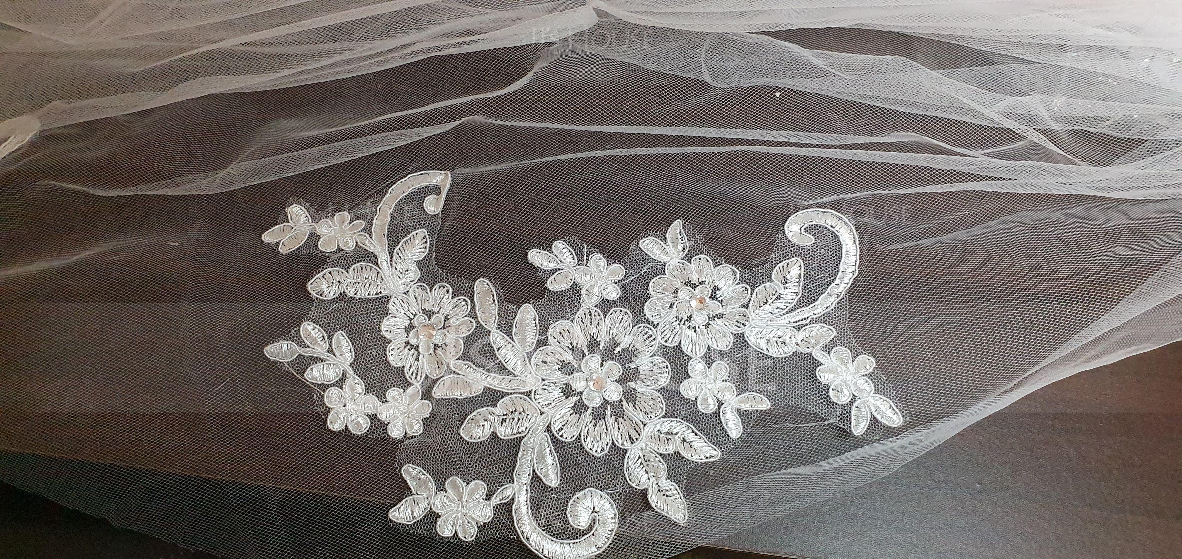 1 couche Bord de coupe Voile de mariée longueur bout des doigts (006146873)