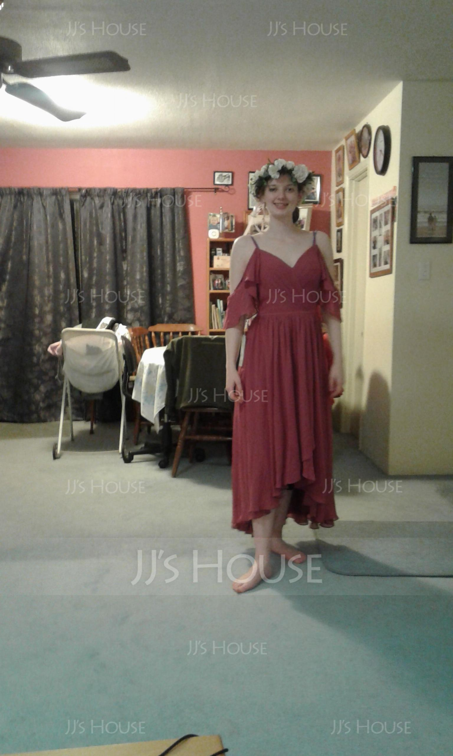 A-Line V-neck Asymmetrical Chiffon Bridesmaid Dress (007165867)