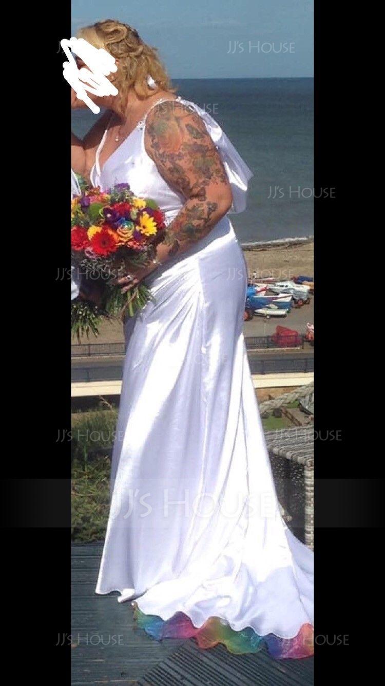Sheath/Column V-neck Court Train Charmeuse Wedding Dress With Ruffle Lace Beading Sequins (002056213)
