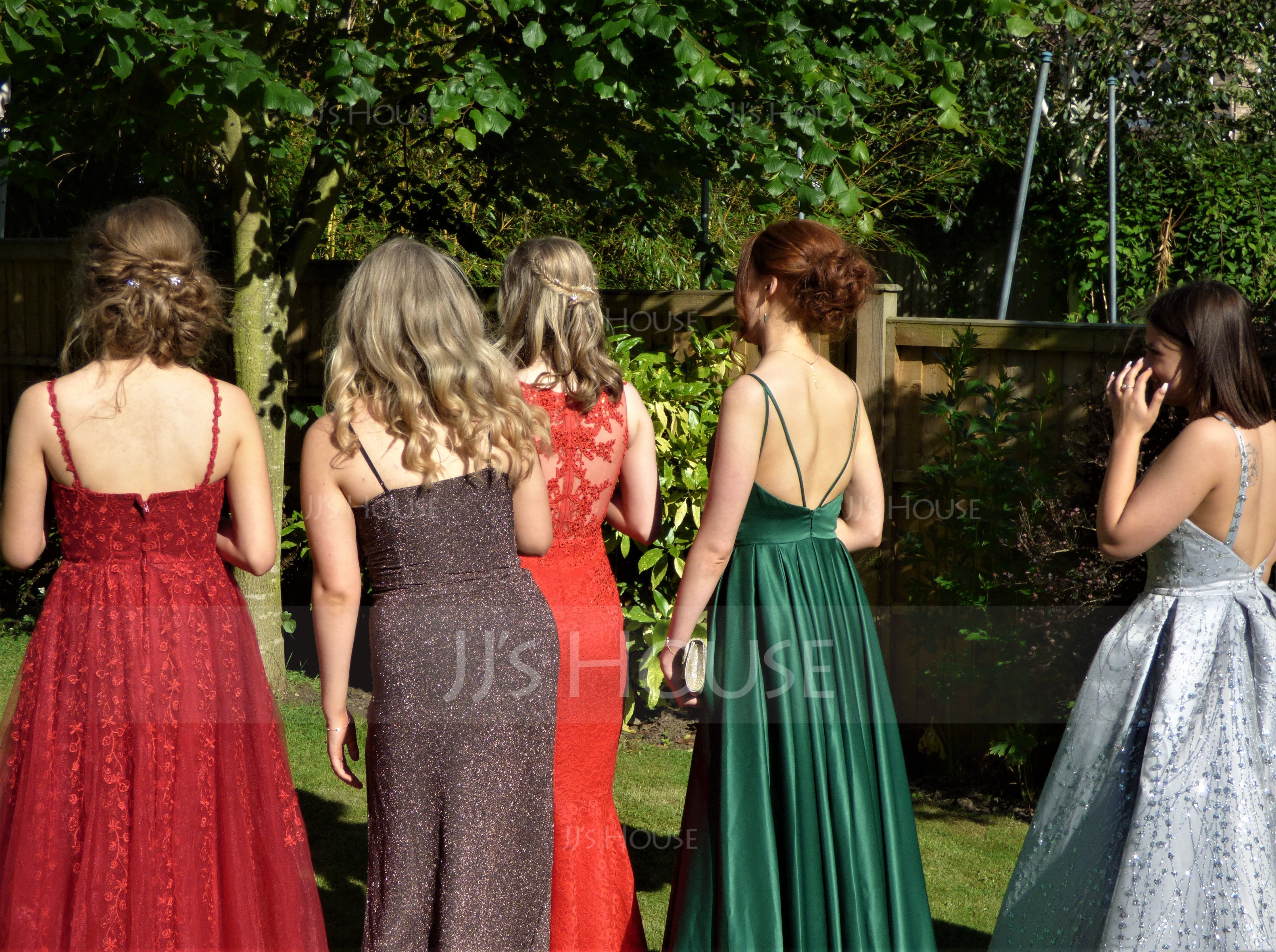 A-Line V-neck Floor-Length Satin Prom Dresses With Ruffle Pockets (018175919)