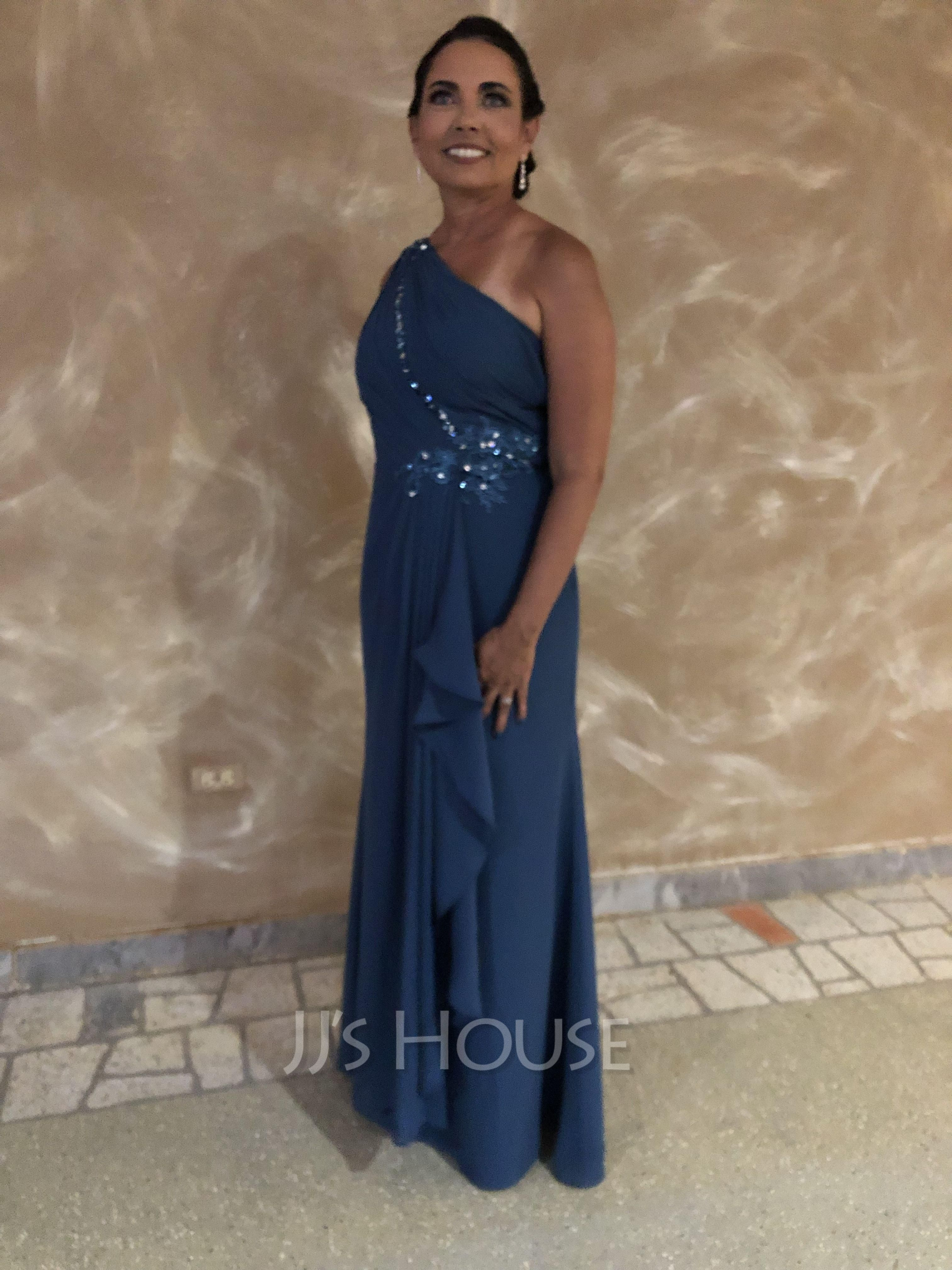 Sheath/Column One-Shoulder Floor-Length Chiffon Evening Dress With Beading Sequins Cascading Ruffles
