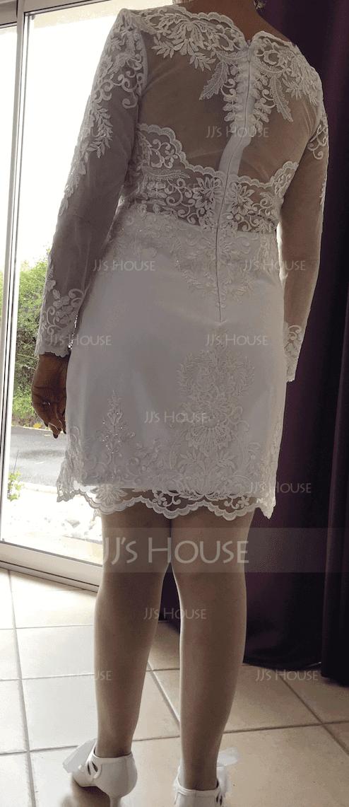 Forme Fourreau Col V Longueur genou Crêpe Stretch Robe de mariée (002186402)