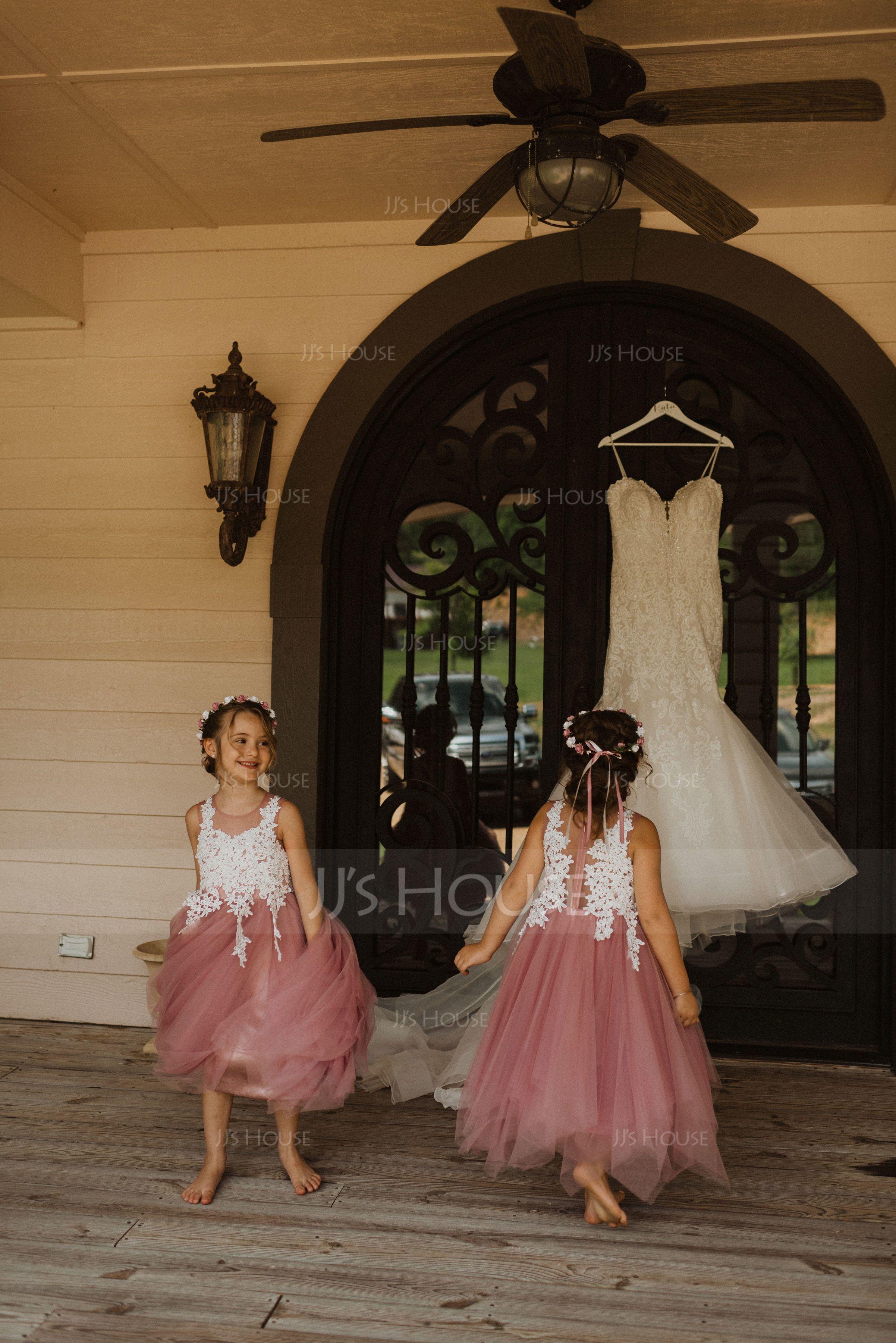 Tea-length Flower Girl Dress - Tulle Sleeveless Scoop Neck (269197776)