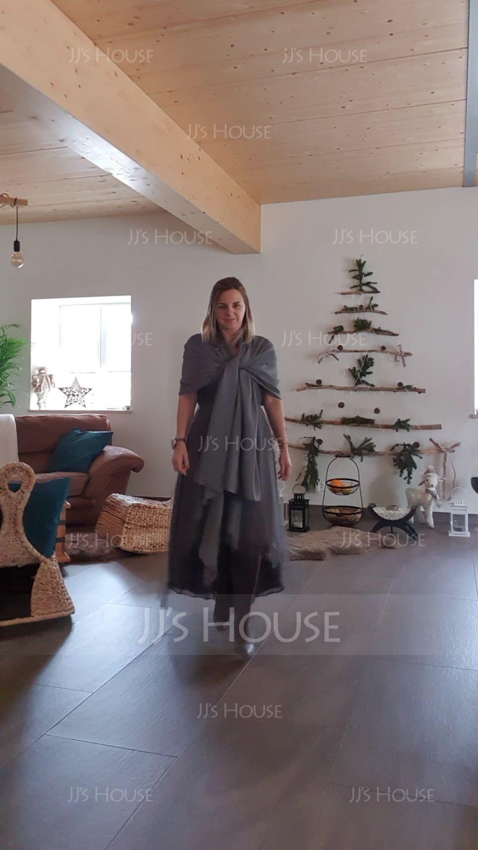A-Linie V-Ausschnitt Asymmetrisch Tüll Kleid für die Brautmutter mit Rüschen Perlstickerei Pailletten (008131615)