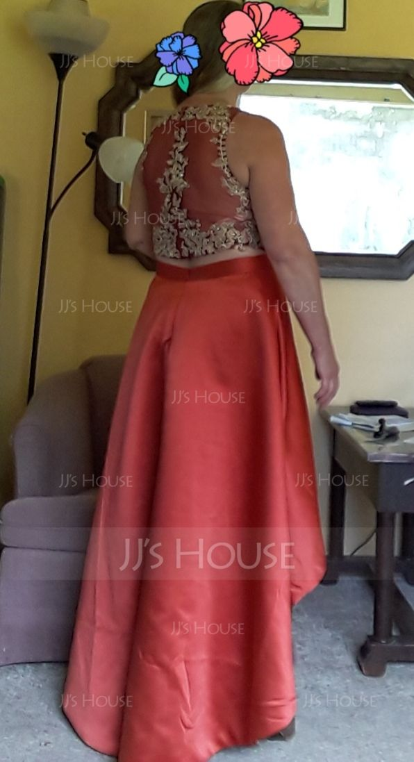 Scoop Neck Asymmetrical Satin Prom Dresses With Lace Beading (272194755)