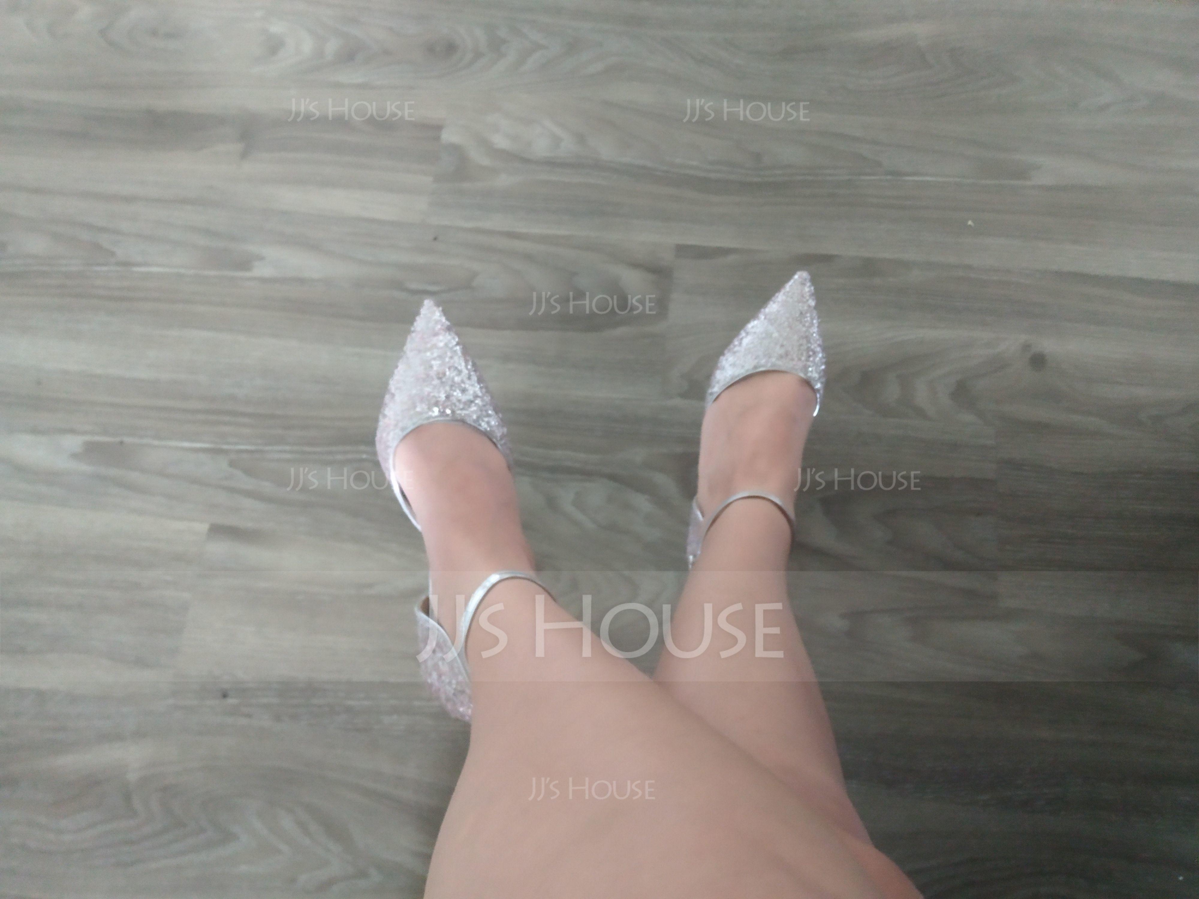 Frauen Funkelnde Glitzer Kätzchen Absatz Geschlossene Zehe Absatzschuhe mit Funkelnde Glitzer (047190323)