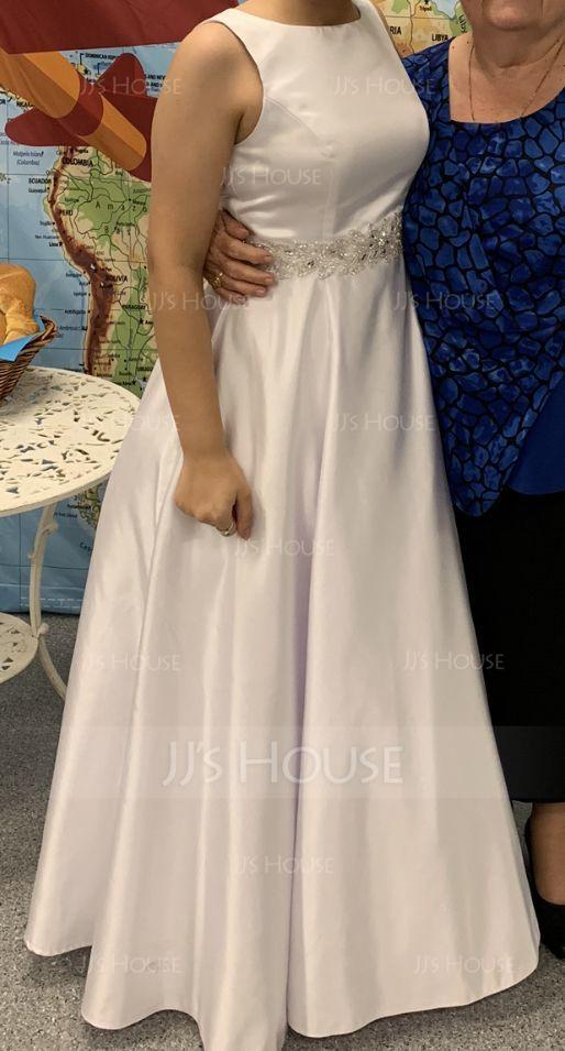 プリンセスライン1 スクープネック マキシレングス サテン ウエディングドレス とともに ビーズ スパンコール (002056197)