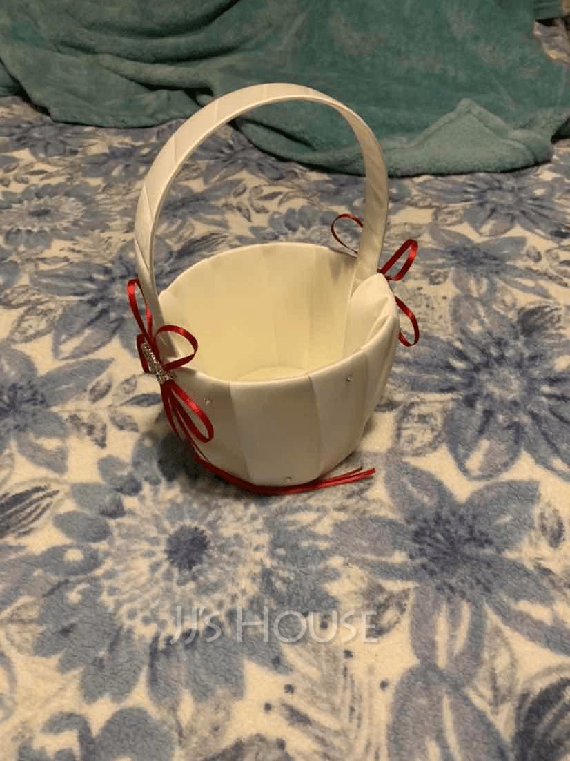 Flower Girl Satin Flower Basket With Ribbon